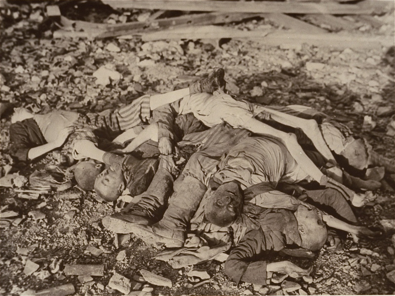"The bodies of prisoners lie on the ground in the newly liberated Nordhausen concentration camp.  The original Signal Corps caption reads, ""U.S TROOPS OPEN GATES OF V-BOMB HORROR CAMP.  Nazi weapons of death made by dying slaves is the grim story of Nordhausen, Reich center for V-bomb production which was captured by troops of the First U.S. Army April 10, 1945.  Hundreds of dead and dying lay in the same beds in a nearby slave camp where, according to the liberated, 9,000 lost their lives in 1944.  The American officer in charge immediately orderd the leading citizens of Nordhausen to bury the rotting and skeleton-like dead, choosing a burial site on a hillside overlooking the V-bomb factory where the slave owrkers had been slowly murdered.  The factory, assembly plant for V-1 and V-2 weapons, was a series of deep underground tunnels.  Three main tunnels were connected with 42 smaller ones.  Until May 1944, workers were never allowed outside.  When the slaves, who lavored in 18-hour shifts, became too weak to work, they were loaded into box cars and never seen again.  PNA                                                            EA 62971  THIS PHOTO SHOWS:  The emaciated bodies of Russian, Polish, French, Belgian and Italian prisoners were piled in a heap, like sticks of wood, at the Norhausen slave labor camp.  Forced to work for the Nazi was machine, they starved to death or were shot.   U.S. Signal Corps Photo ETO-HQ-45-32683 SERVICED BY LONDON OWI TO LIST B CERTIFIED AS PASSED BY SHAEF CENSOR"