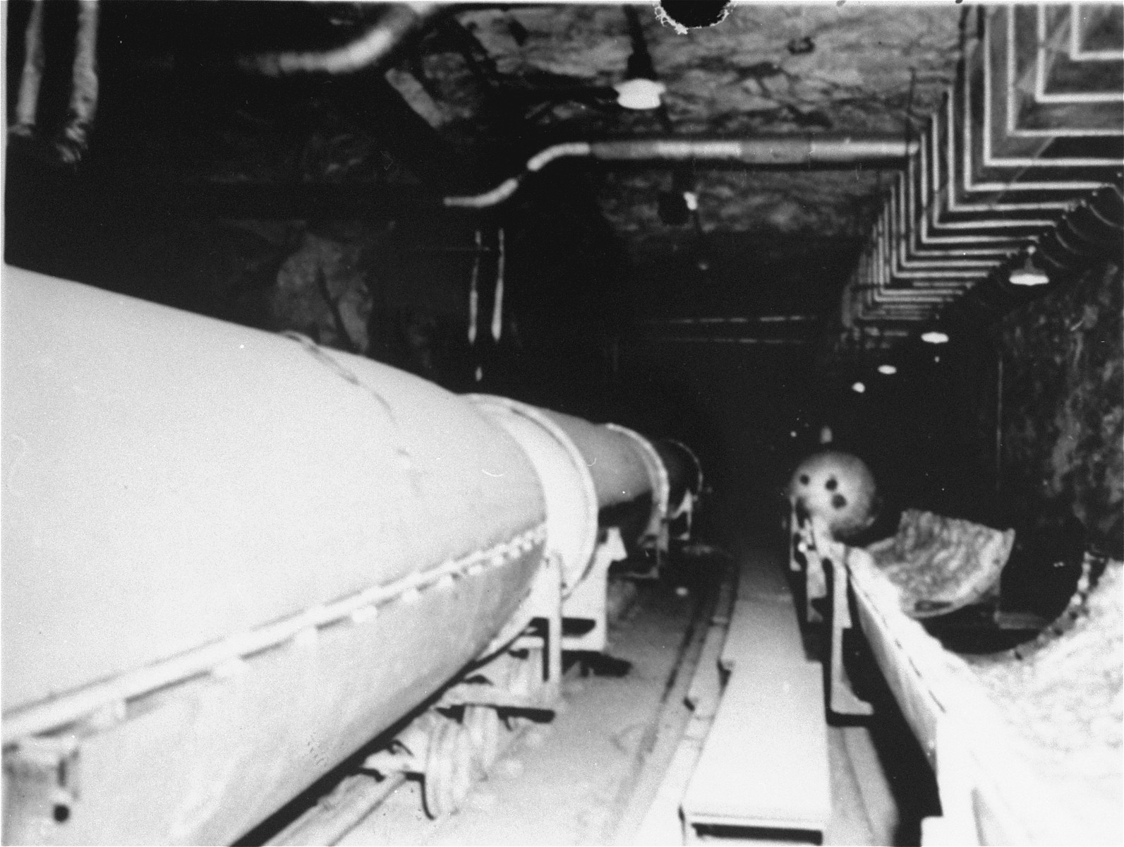 The center section, or fuel section, assembly line in the underground rocket factory at Dora-Mittelbau.