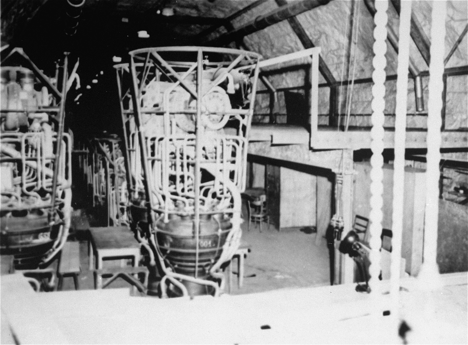 The propulsion unit assembly section of the underground rocket factory at Dora-Mittelbau.