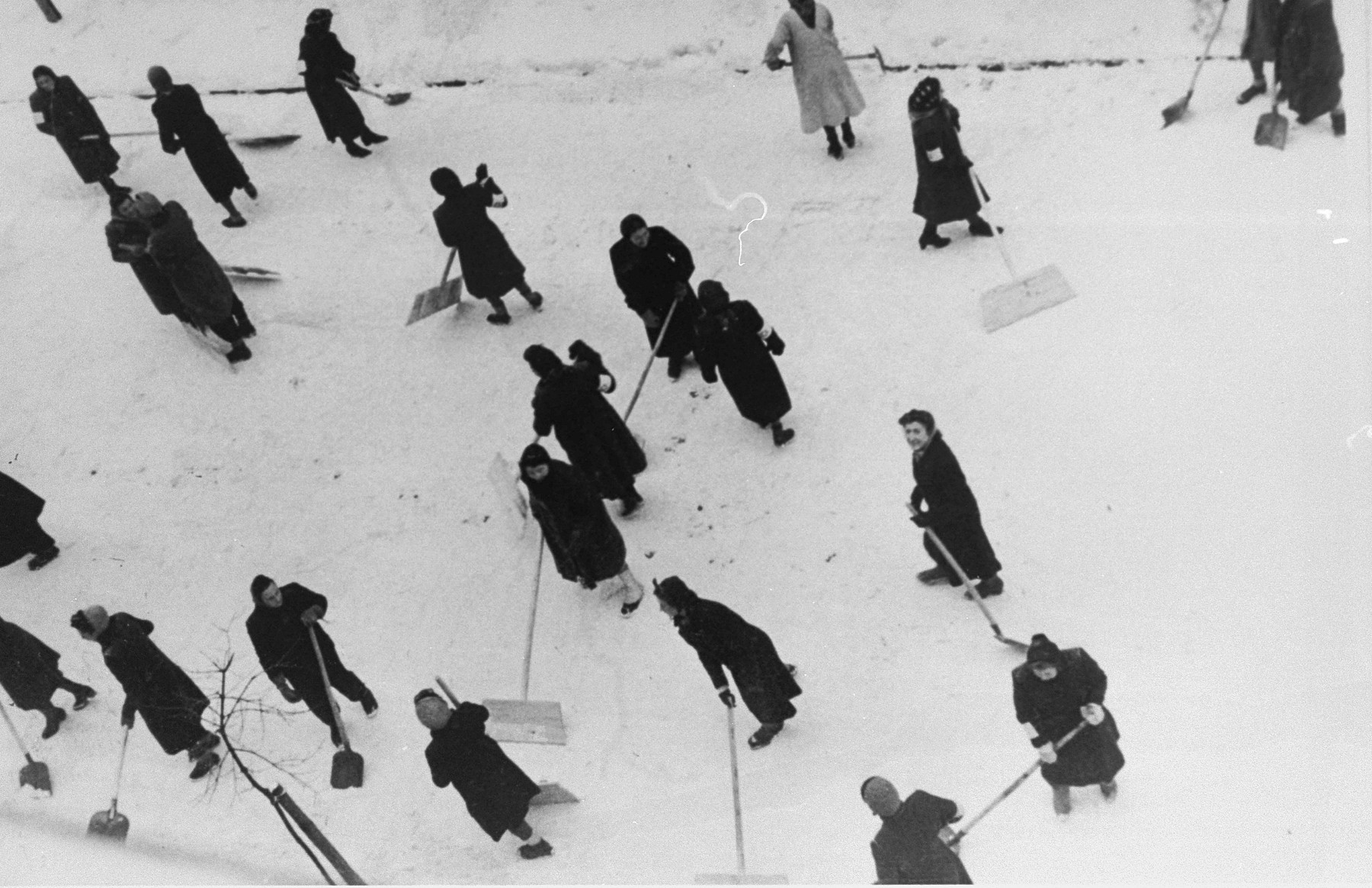 Jewish women are forced to clear snow from the streets of Krakow.