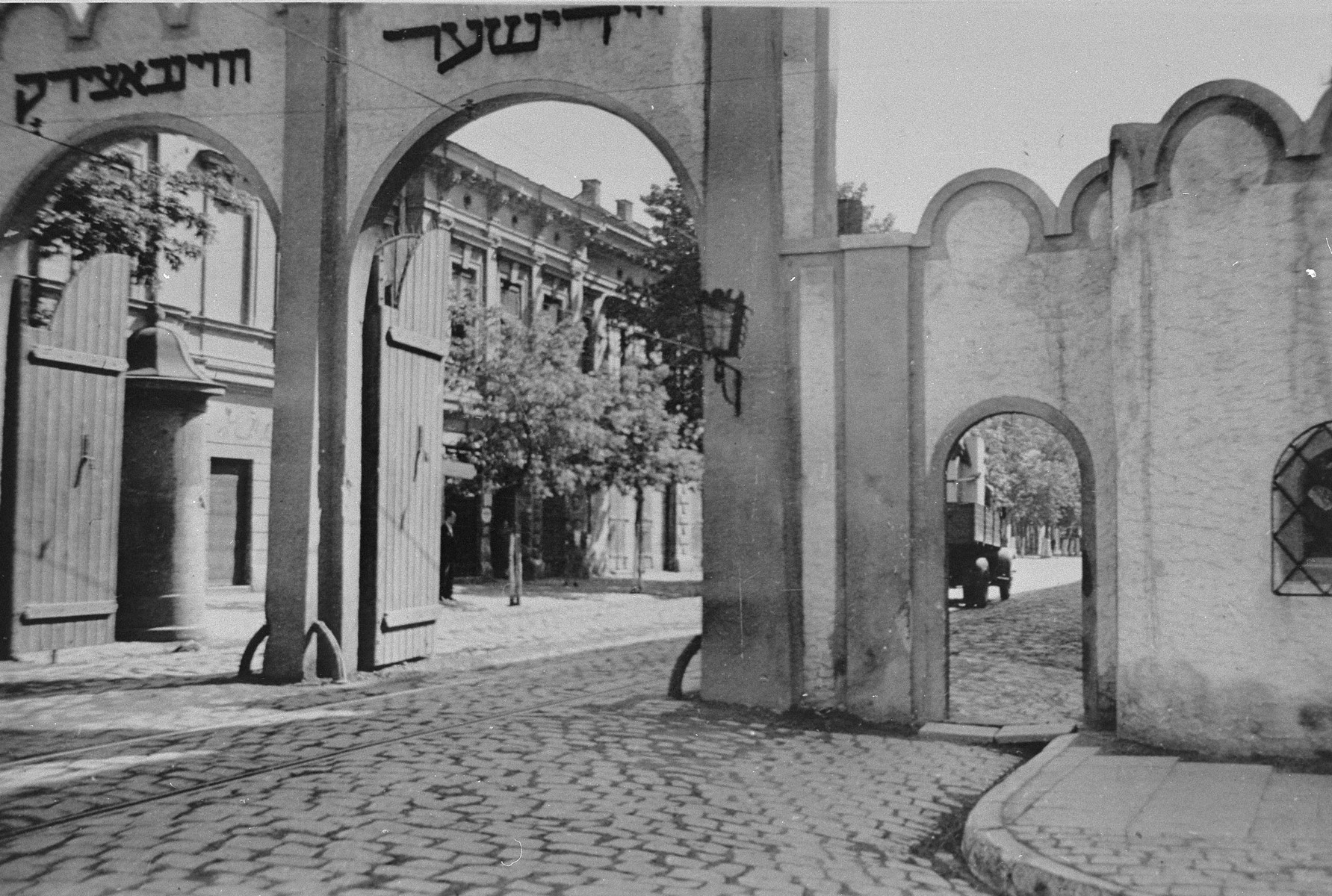 View of the arched entrance to the Krakow ghetto.