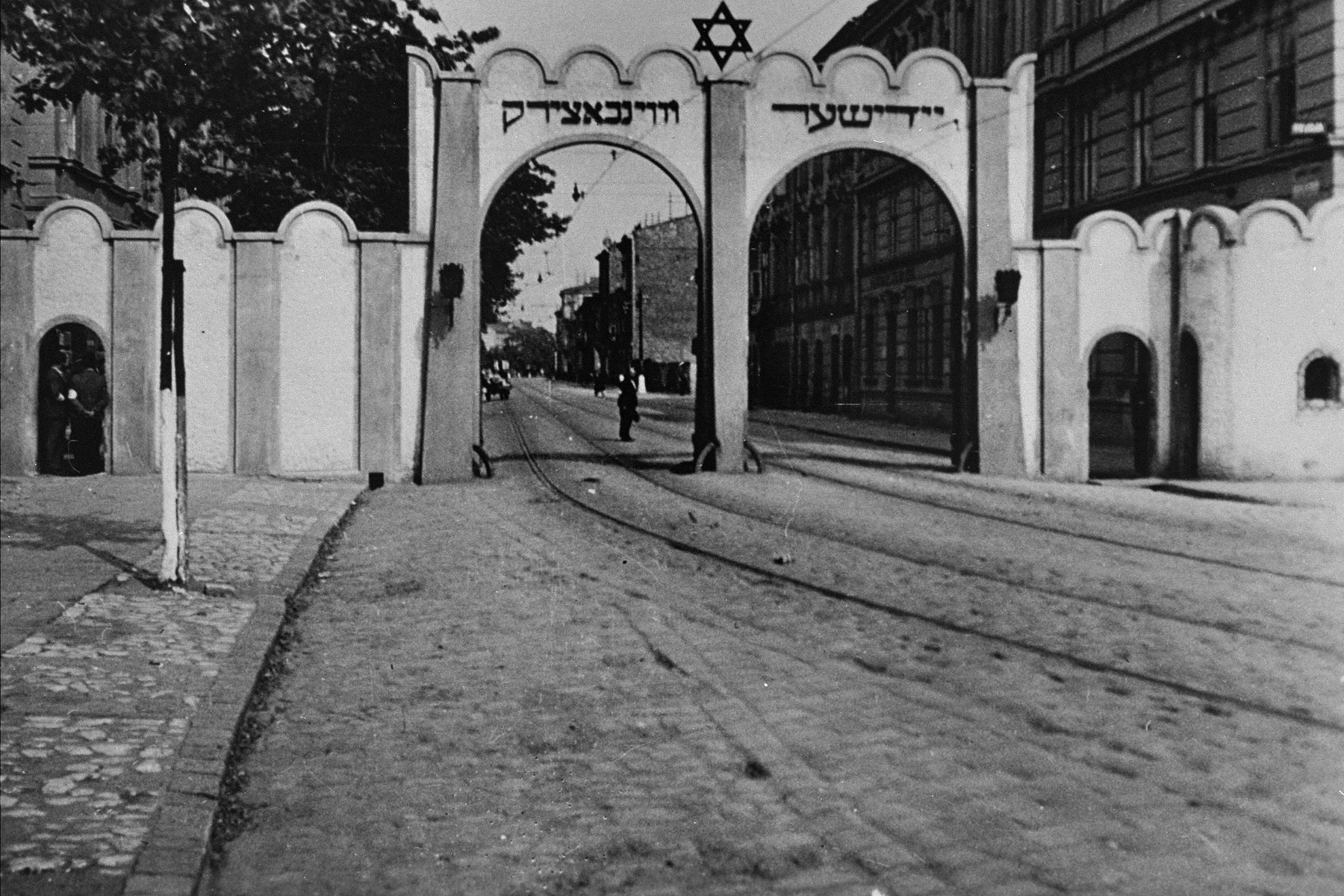 View of the gate at the Krakow ghetto.