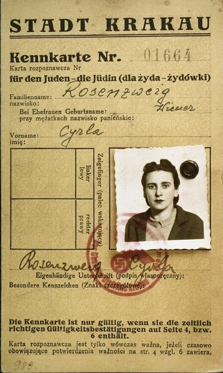 A photo identification card, bearing the official stamps of the Krakow labor office and the General Government, Krakow district,  that was issued to the Polish Jew, Cyrla Rosenzweig.  Cyrla survived as one of the Schindler Jews.