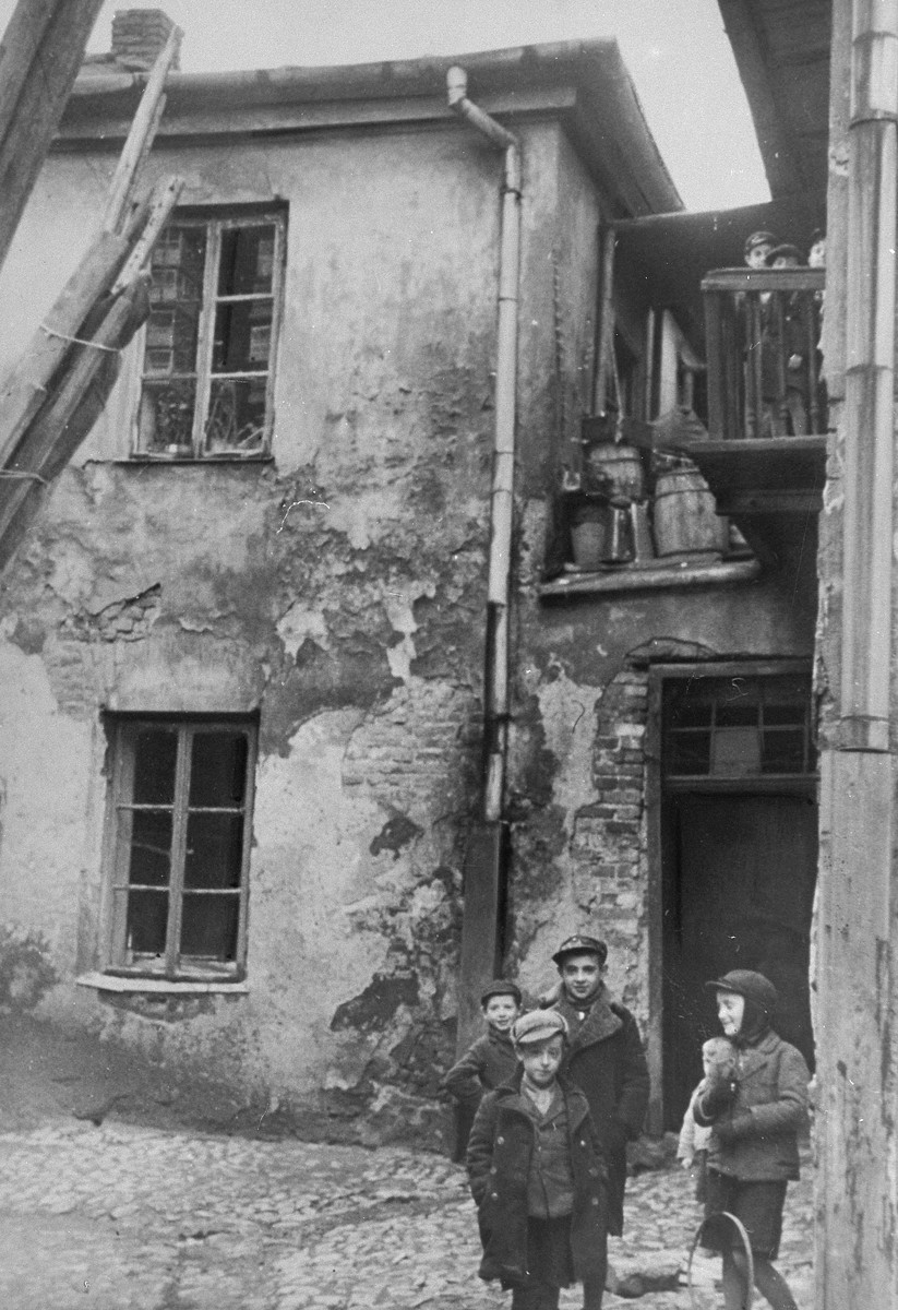 Jewish children play in a courtyard in Krakow.