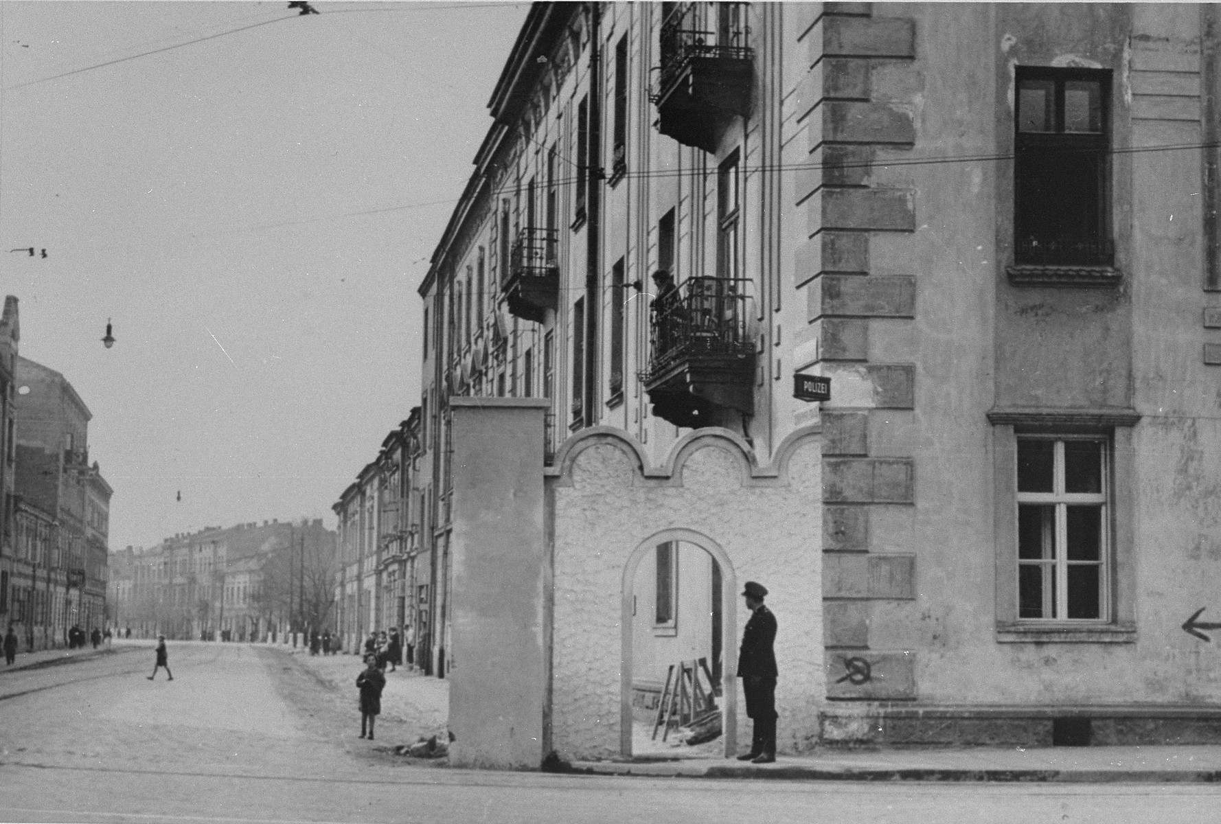 View of an entrance to the Krakow ghetto.