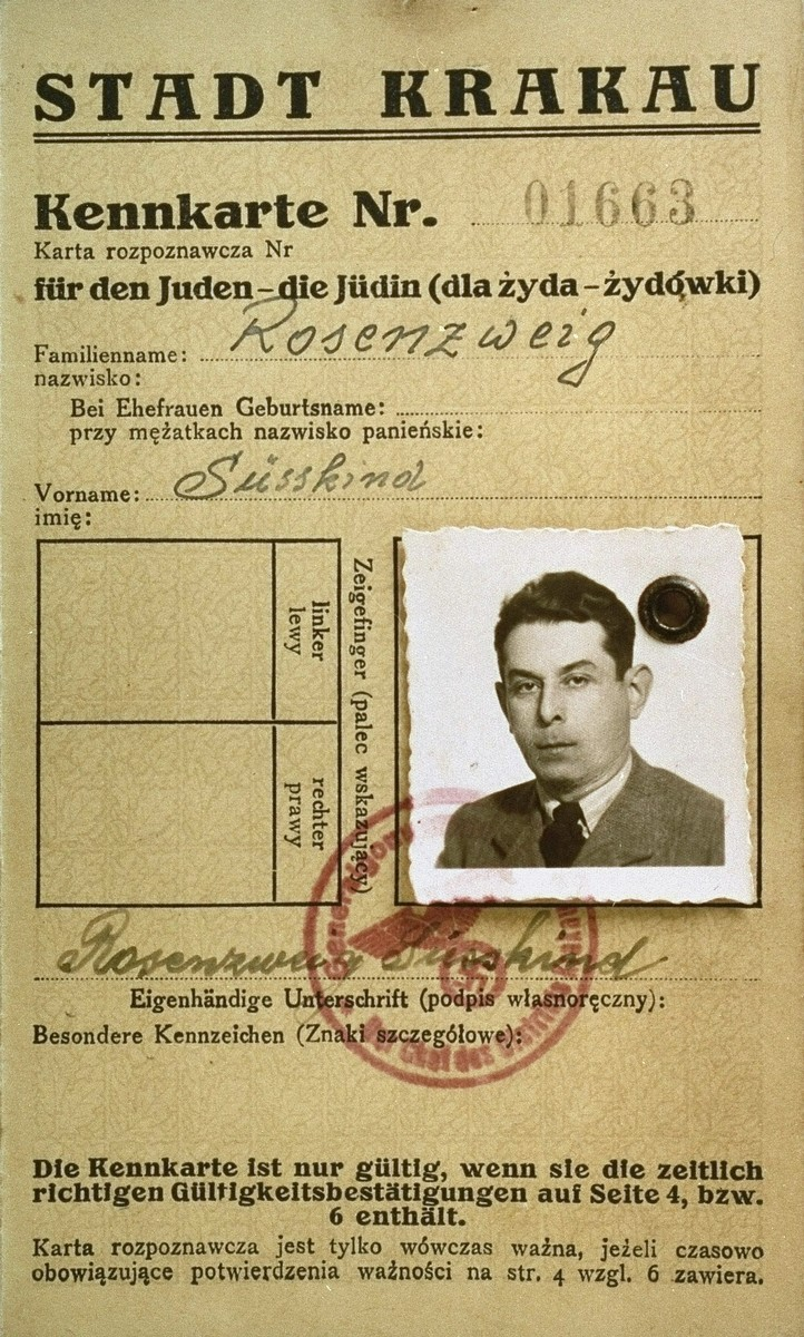 A photo identification card, bearing the official stamps of the Krakow labor office and the General Government, Krakow district,  that was issued to the Polish Jew, Suesskind Rosenzweig, the donor's husband.