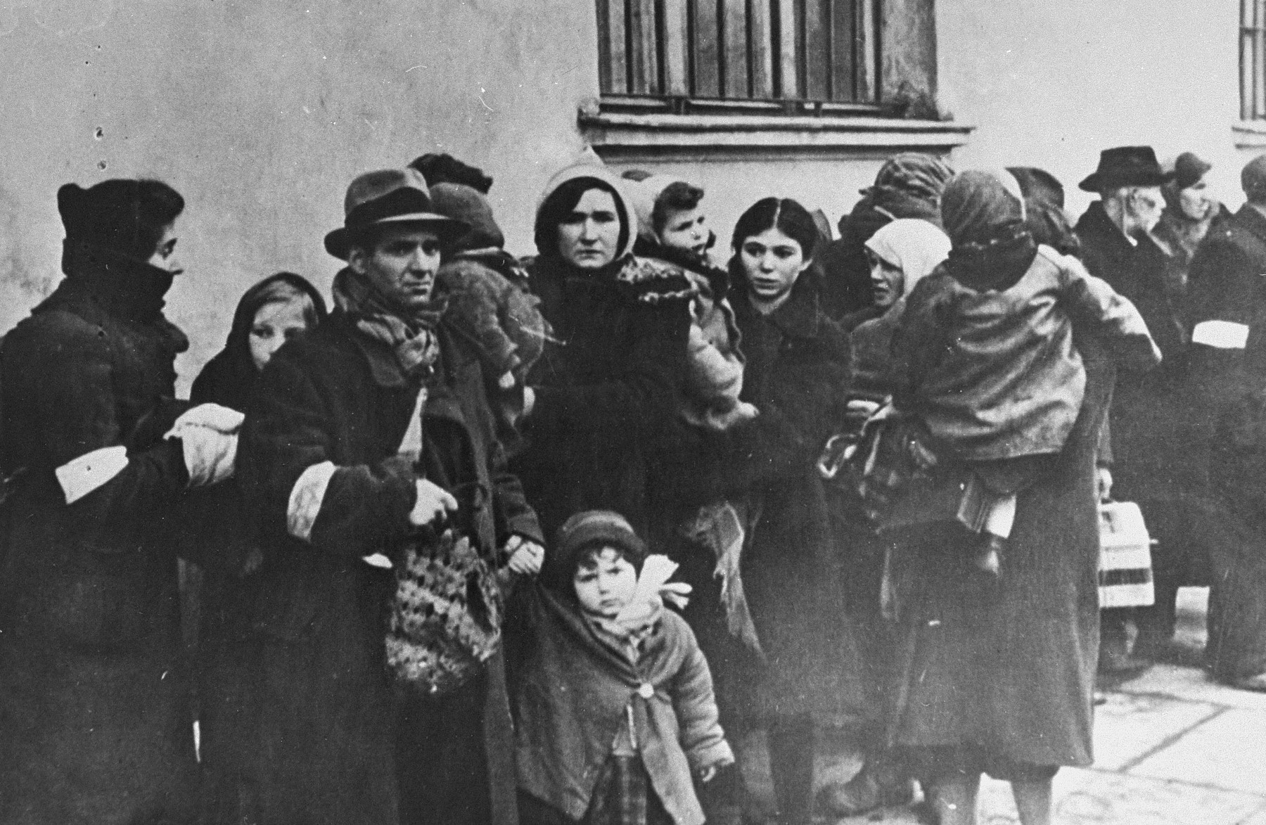 Jews from the Krakow ghetto are assembled for deportation.