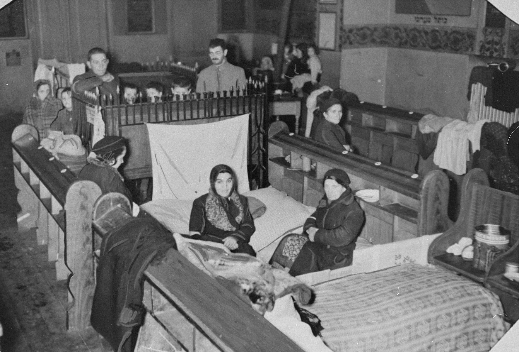 A synagogue has been converted into a temporary shelter to house Jewish families forced to move into the ghetto in Krakow-Podgorze.