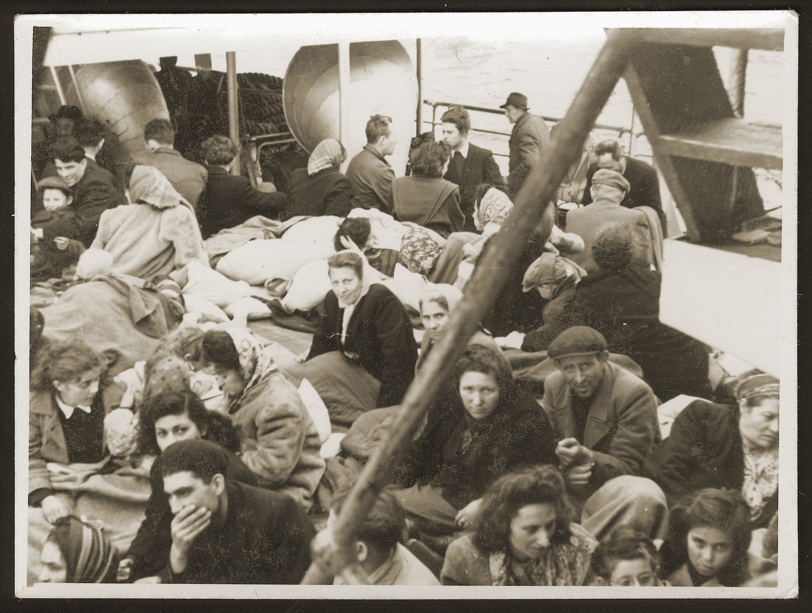Jewish displaced persons aboard the SS Negba en route to Israel.