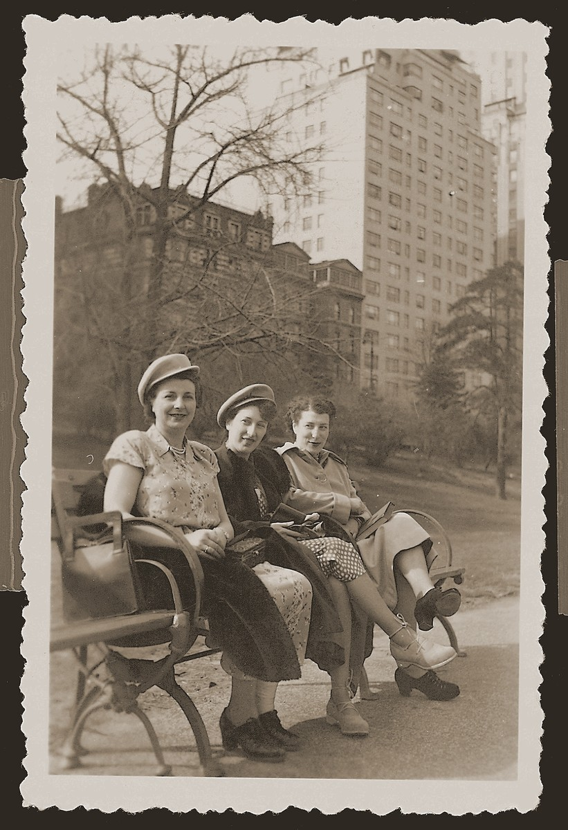 Bep Meijer Zion (middle), on her honeymoon in New York, poses on a park bench with her sister, Renee Meijer Beck (left), and a friend, Lore Polak.  Renee and Lore, who survived the war in hiding, left Holland for the United States soon after the war's end.