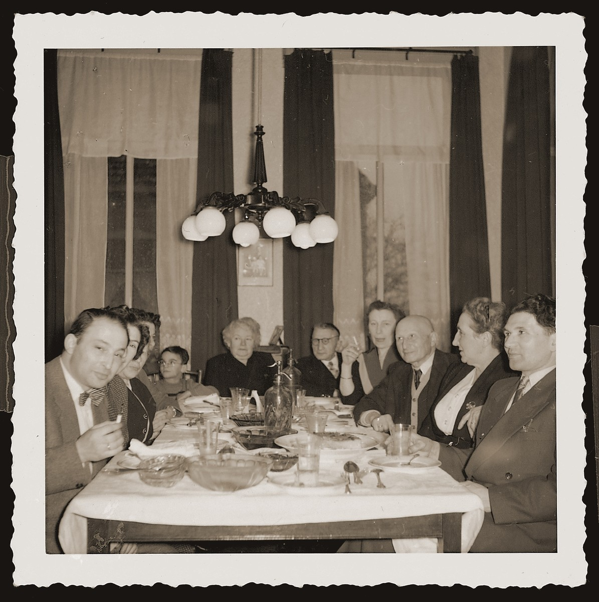 A family gathering at the home of Louis and Ida Meijer.  Pictured from left to right are: Richard Meijer, Bep Meijer Zion, Jaap Laufer (boy), Ida and Louis Meijer, Rien Hartog, Joseph and Hennie Meijer, and Sallie Zion.