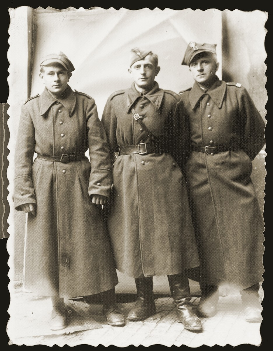 Ignac Greenbaum (right) with two other Jewish refugees who joined the Polish Army that was formed in the Soviet Union during the war.  Greenbaum was from Sosnowiec.
