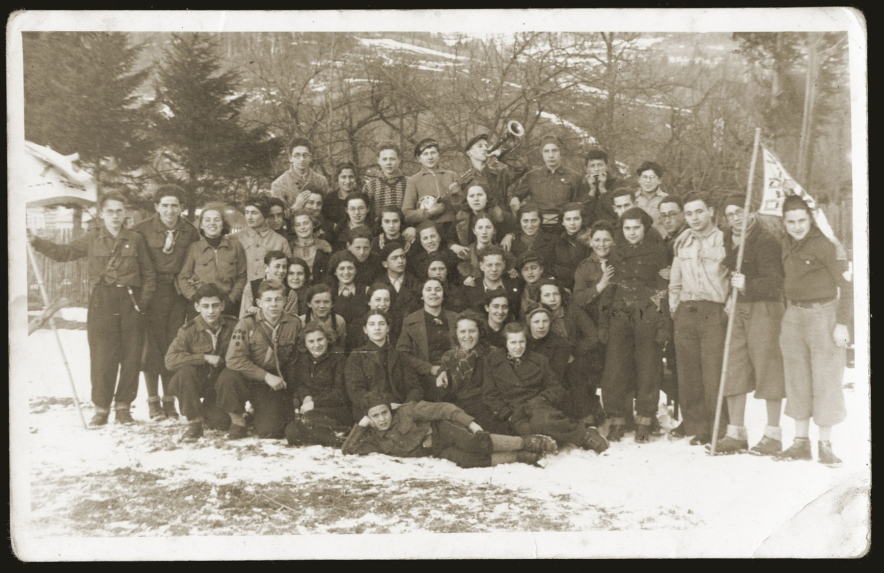 Group portrait of members of the Tzofim (Jewish scouts) from the Furstenberg gymnasium in Bedzin.