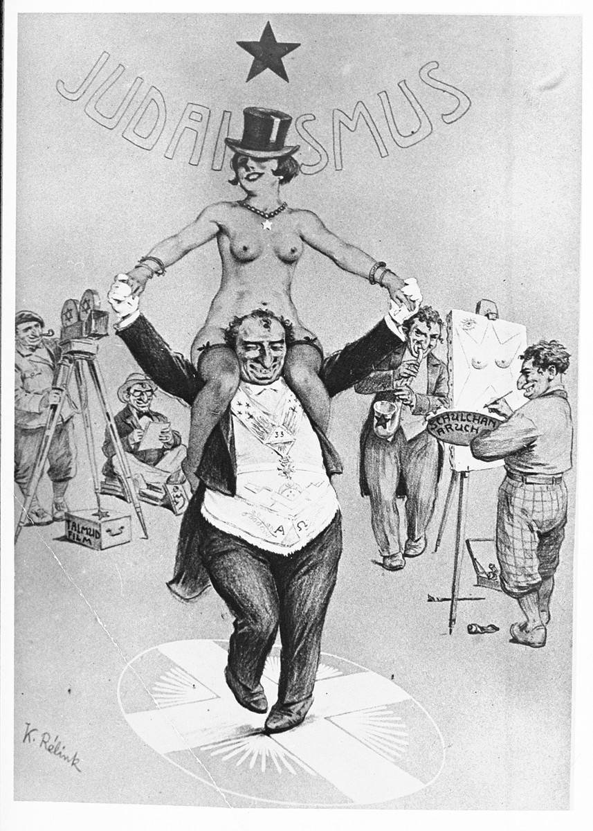 """An anti-Semitic cartoon entitled """"The progress of 'modern art' --Dance with a Prostitute.""""  A painter holds a palette bearing the words Schulchan Aruch (a medieval compendium of Jewish law).  Behind the naked female dancer is the word Judaismus (Judaism)."""