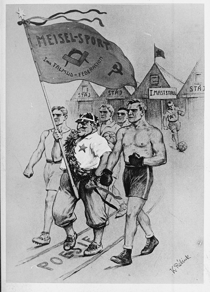 "An anti-Semitic cartoon which features members of a Jewish athletic club marching down a road called ""Poesie,"" behind their promoter, who holds a banner with the insignia of the Freemasons and the Bolsheviks and which reads, ""'Meisel Sport' Talmud-Federation."""