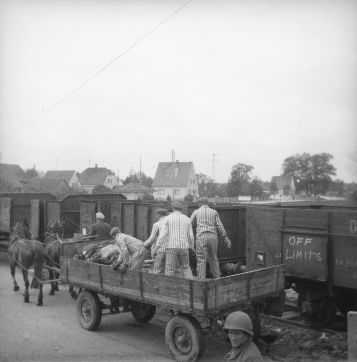 Survivors in uniform transfer corpses from a cart onto a train in preparation for their burial.