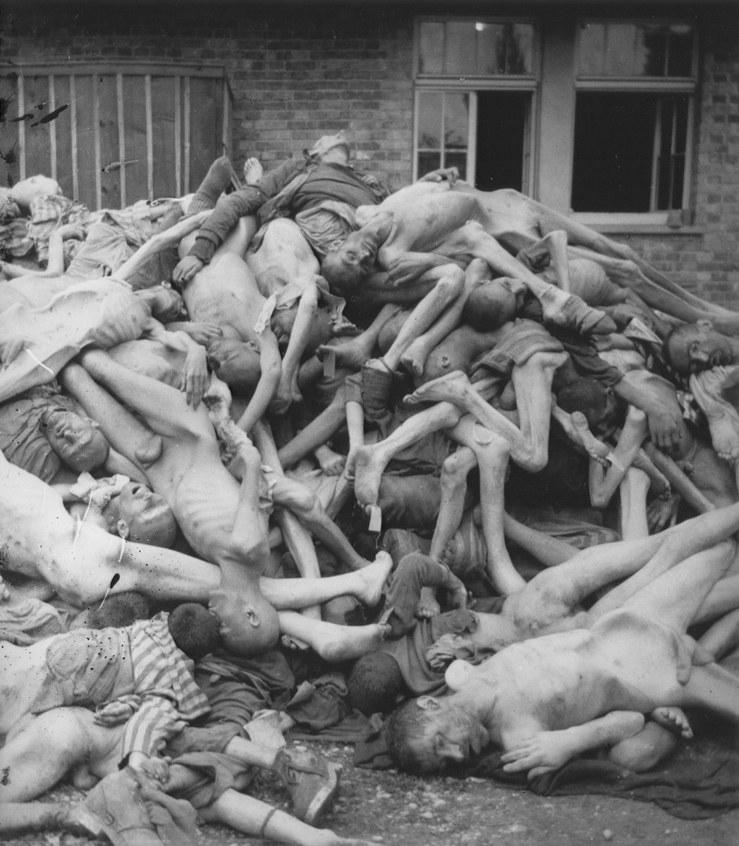 View of a pile of corpses outside the crematorium.