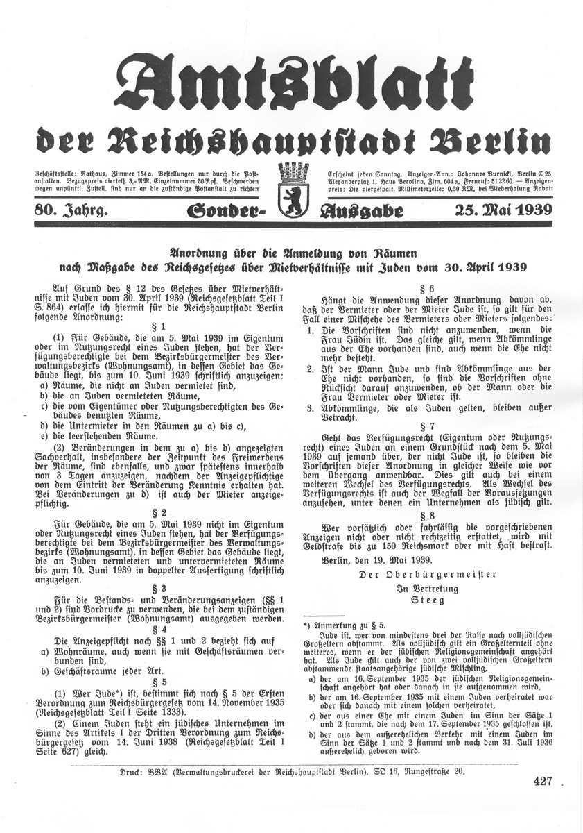 Front page of a special addition of the Amtsblatt der Reichshauptstadt Berlin [Office Newsletter of the National capital city of Berlin] published on May 25, 1939 regarding the implementation of the April 30, 1939 directive concerning the registration of apartments leased to Jews.