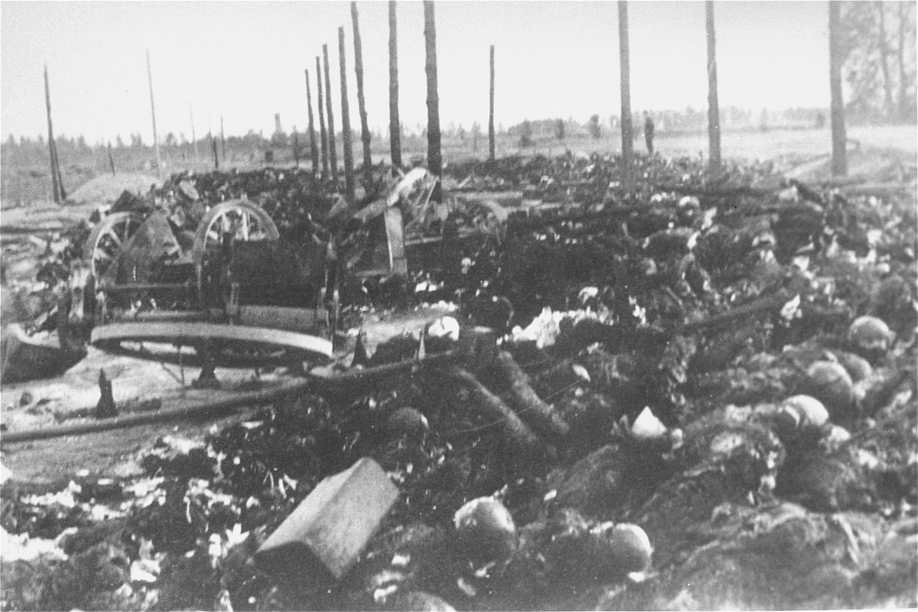 View of the charred remains of Jewish victims burned by the Germans in the Maly Trostinets concentration camp.