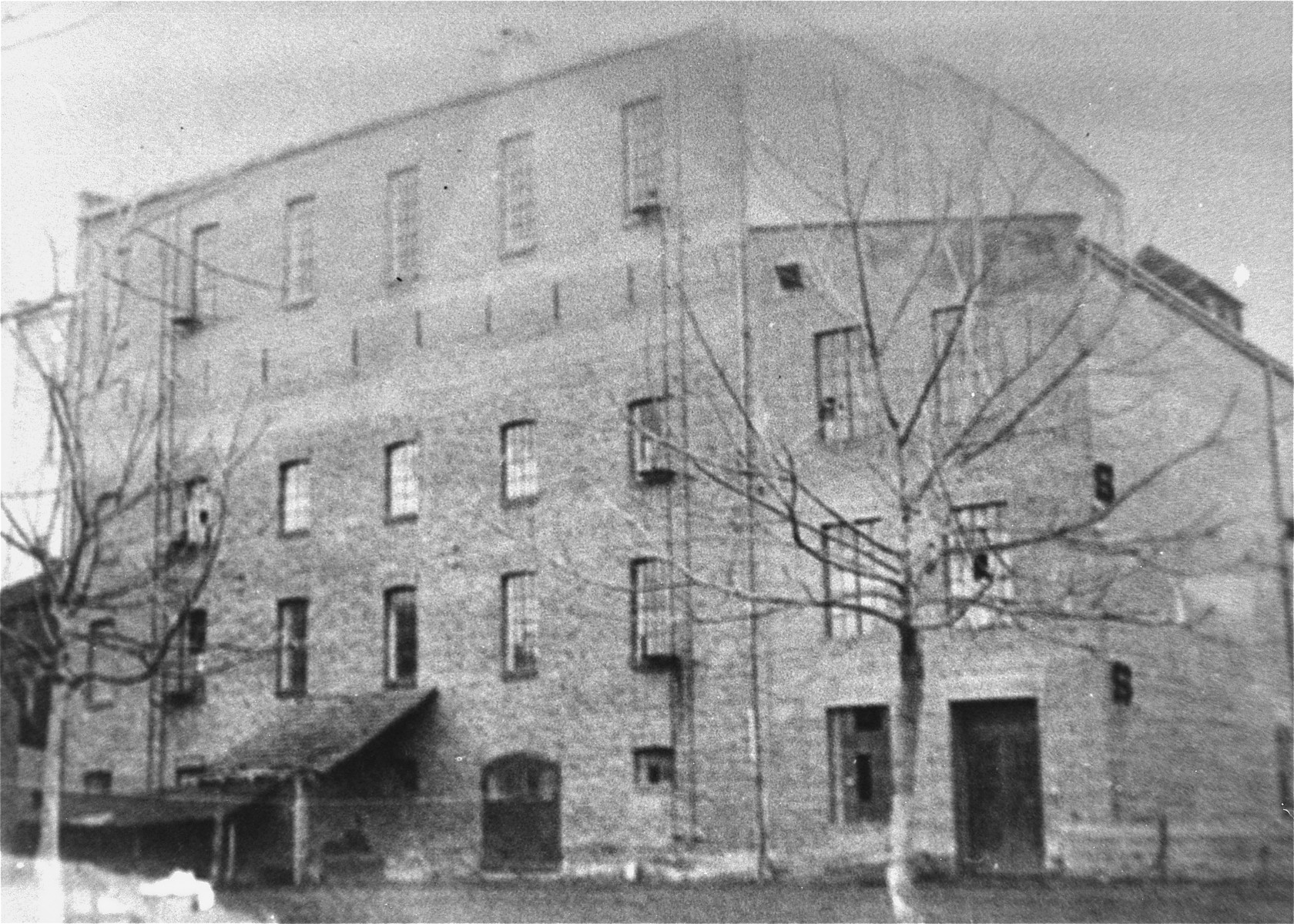 View of the flour mill on Janko Veselinovic Street in Sabac, where the Jewish refugees of the Kladova transport were housed.