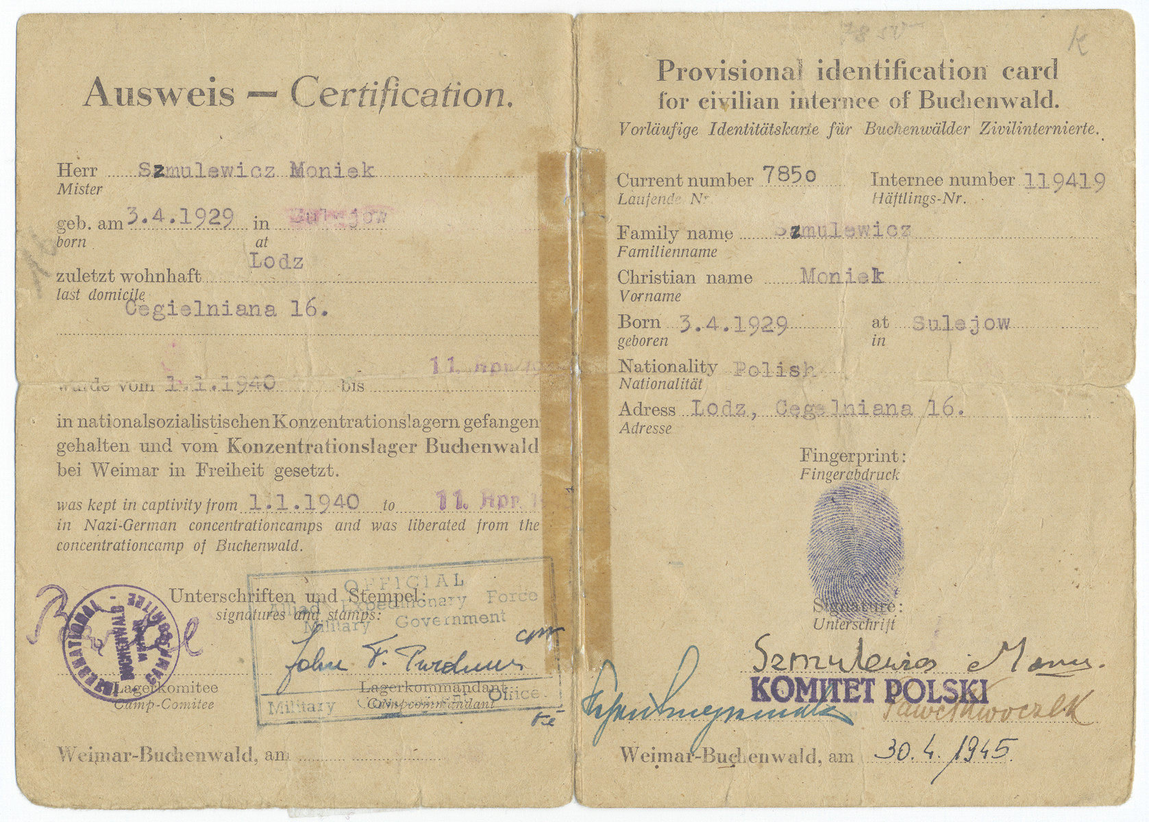 Identification card issued to Moniek Szmulewicz testifying that he had been a prisoner in the Buchenwald concentration camp and had been in Nazi prisons since January 1, 1940.  Note: Moniek gave his birthdate on this card as a year younger than his true birthdate so that he could qualify for more favorable immigration status.