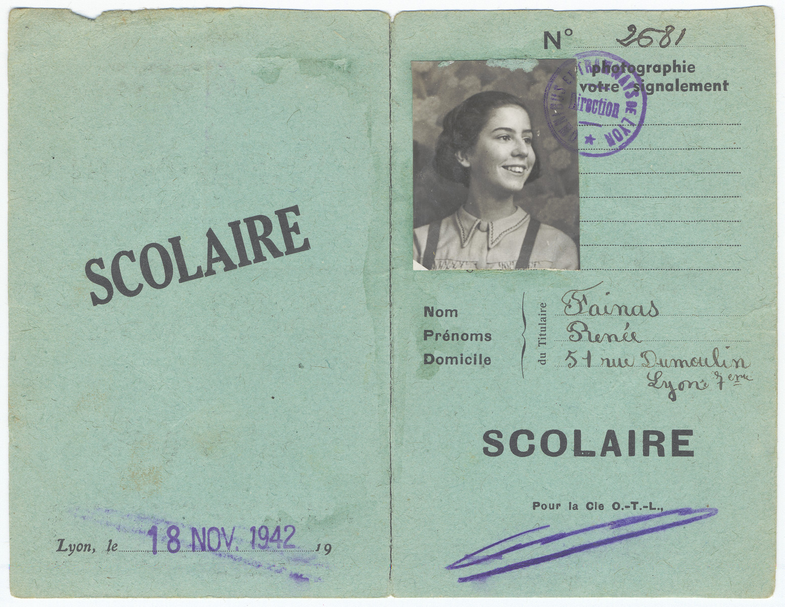 Student identification card issued to Renee Fainas, a Jewish child living in semi-hiding under her own name.