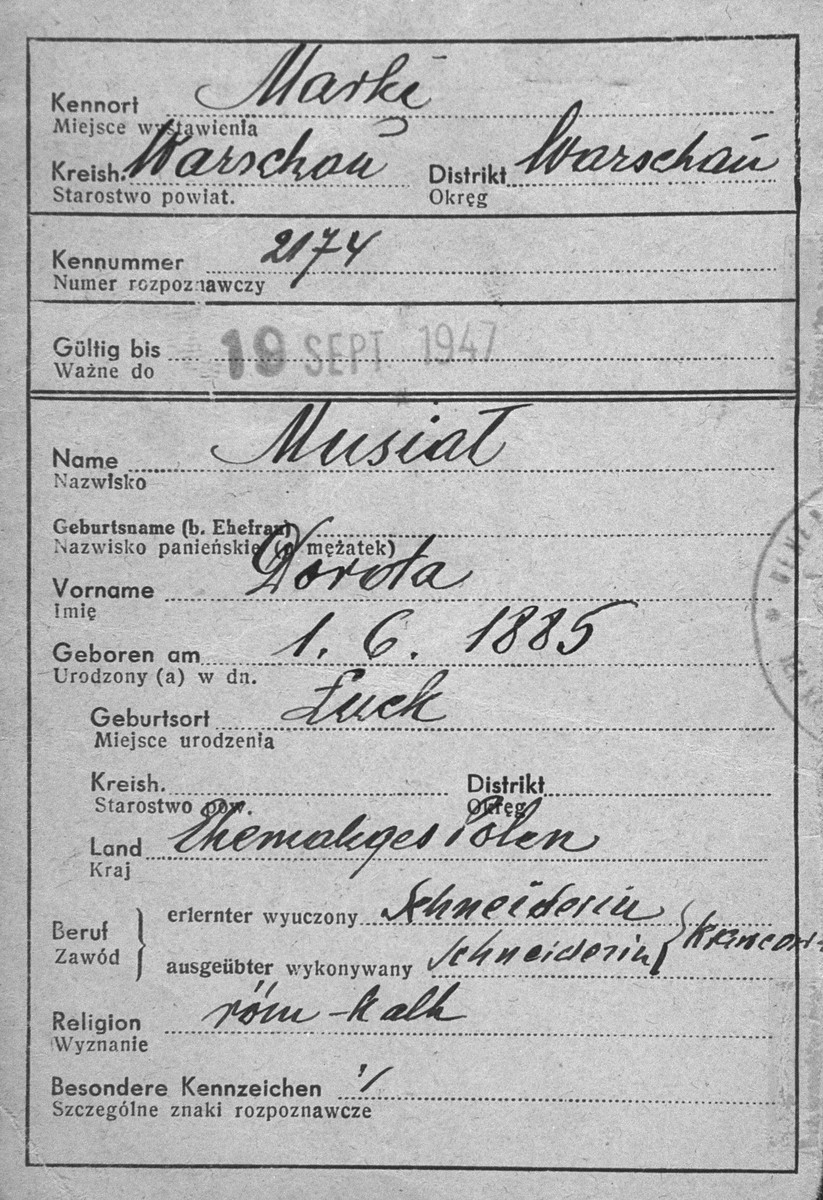 False identification papers used by the donor's mother, Dorota Gotheil Morgenstern, during her years of hiding in occupied Poland.  Morgenstern lived under the assumed name of Dorota Musiat.