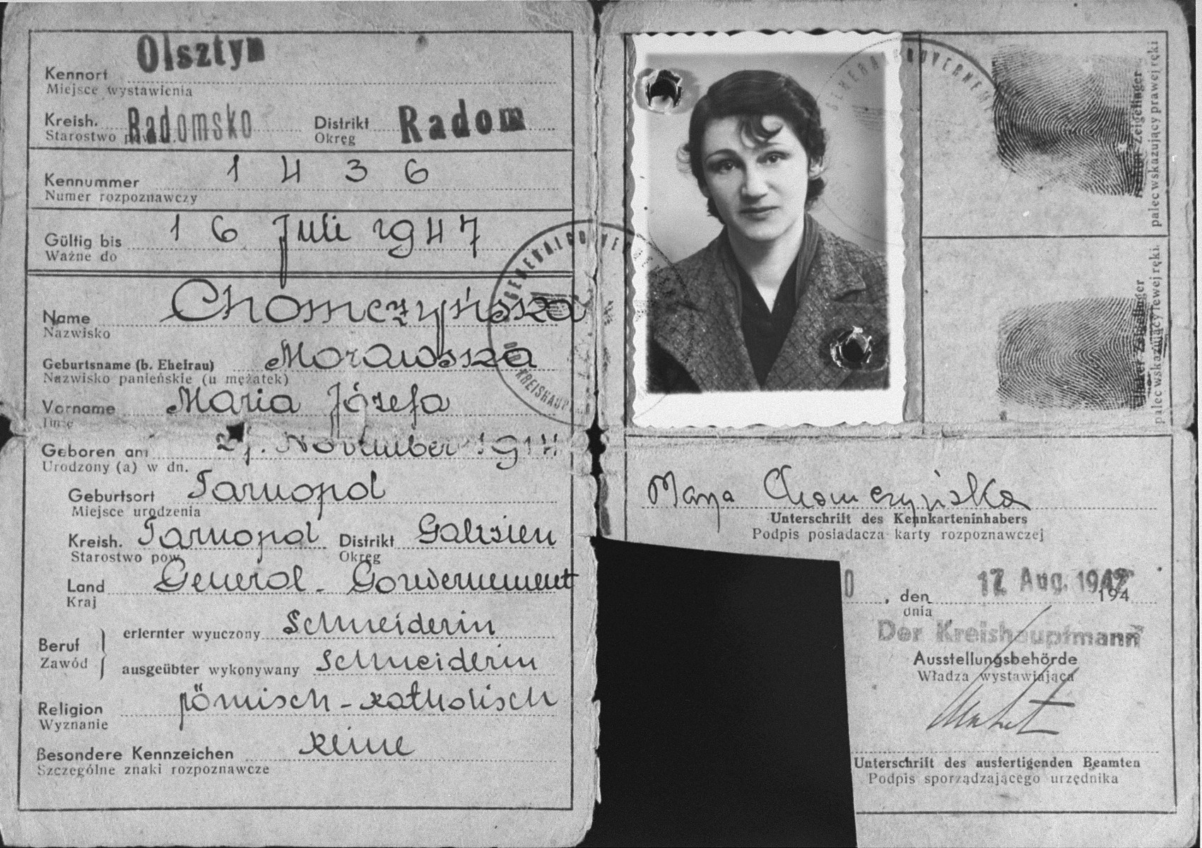 False identification papers used by the donor's wife, Maria Minc Morgenstern, during her years of hiding in occupied Poland.  Minc lived under the assumed name of Maria Chomczynski.