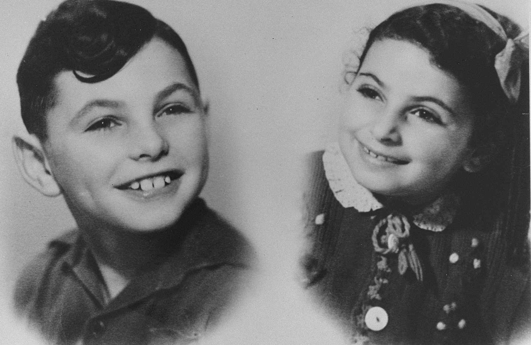 Portrait of two Jewish children, Shlomo and Eva Haringman, while living in hiding with the DeVries family.