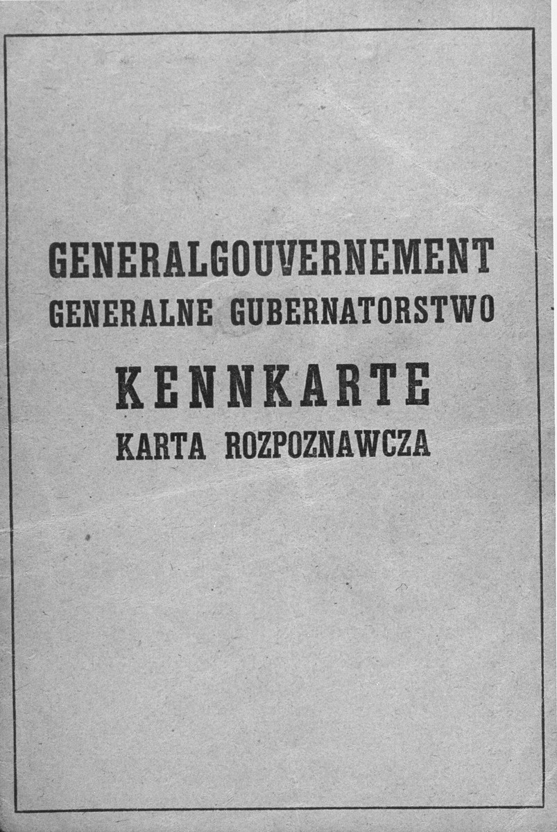 Page from a Generalgouvernement Kennkarte.  False identification papers used by the donor's mother, Dorota Gotheil Morgenstern, during her years of hiding in occupied Poland.  Morgenstern lived under the assumed name of Dorota Musiat.