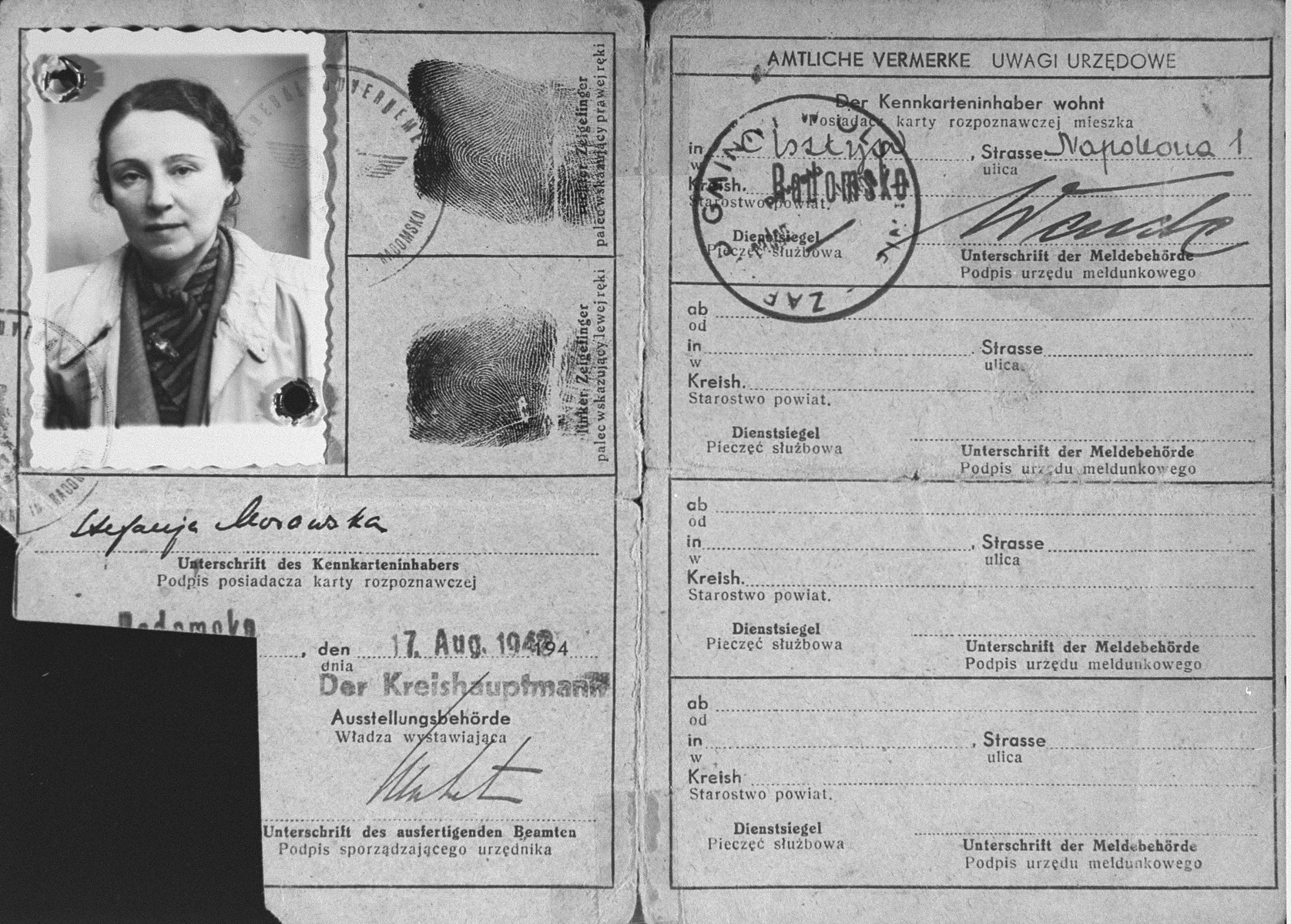 False identification papers used by the donor's mother-in-law Stefania Gutentag Minc during her years of hiding in occupied Poland.  Minc lived under the asumed name of Stefanja Korowska.