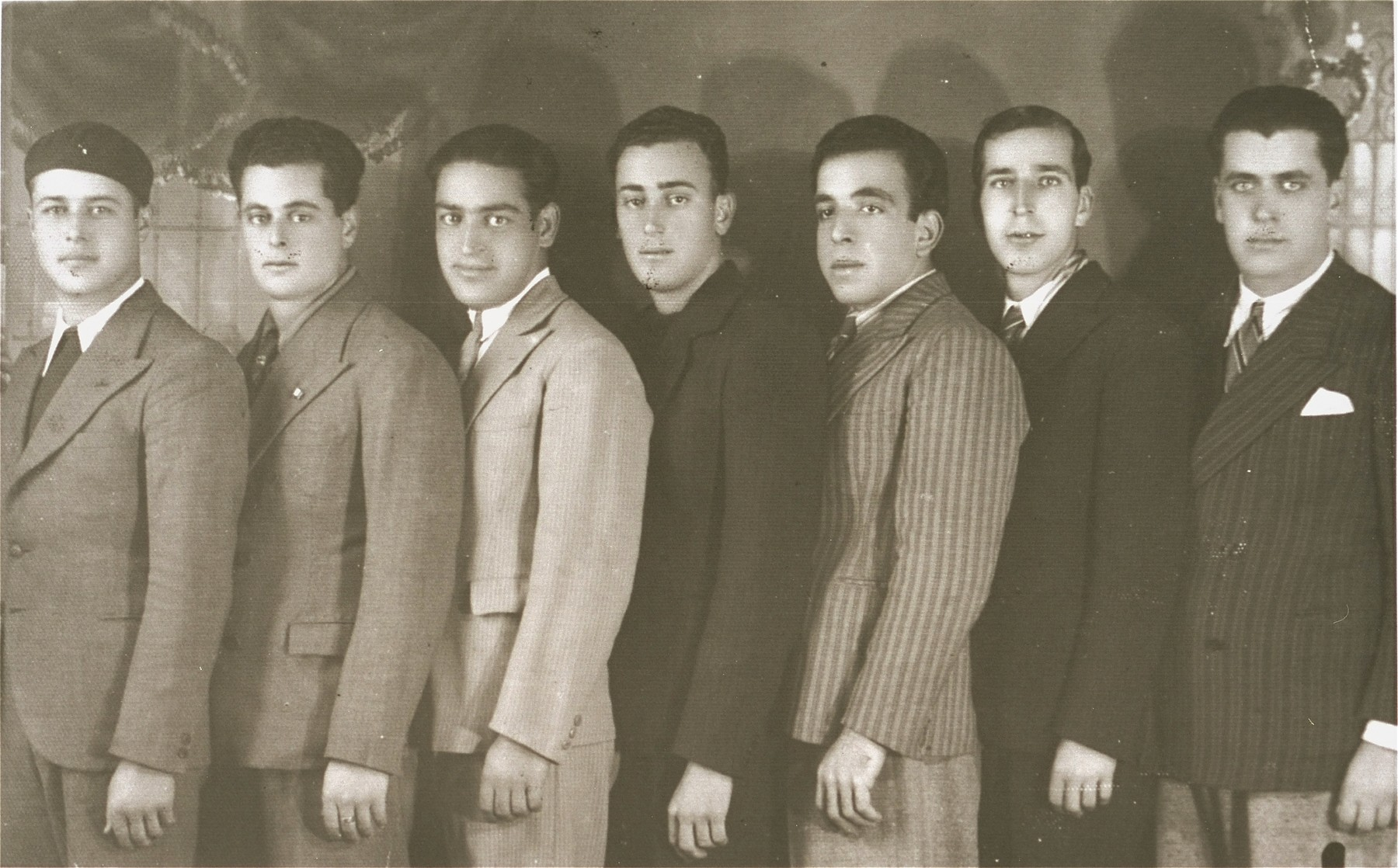 Group portrait of members of the Maccabi sports club of Rhodes.  Among those pictured is Yosef Alcana (third from the left), the president of the club.  In 1944 all seven young men were deported to Auschwitz and killed.