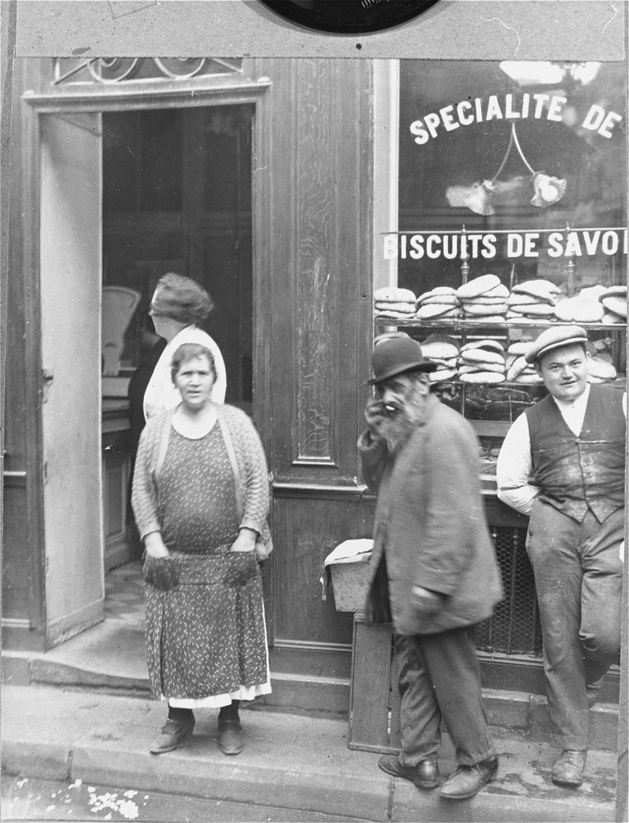 Jews outside a bakery in the Jewish quarter in Paris.