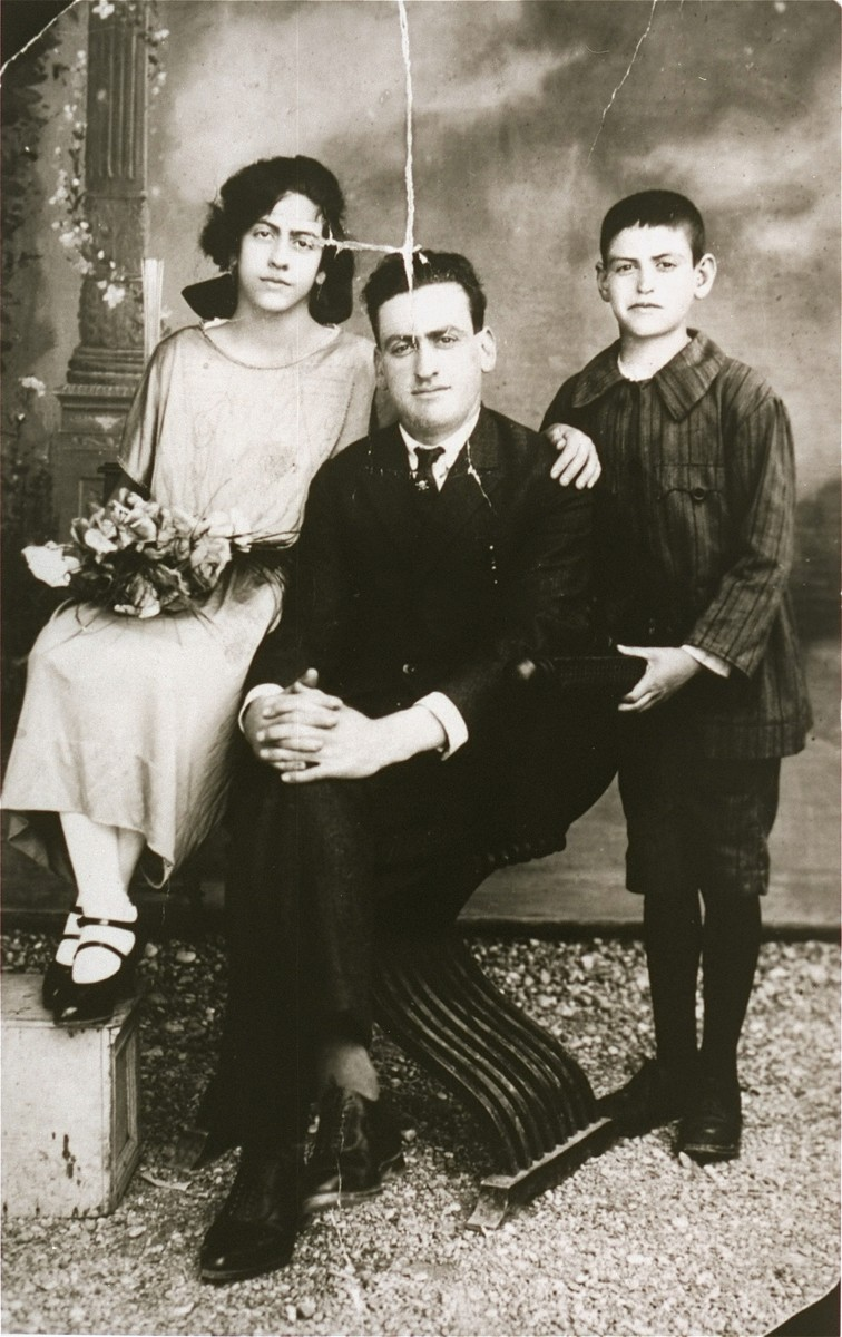 Portrait of the Hasson family in Rhodes.    Pictured from left to right are: Violeta, Celebi, and Shlomo Hasson.  All three were deported to Auschwitz in 1944, where they perished.