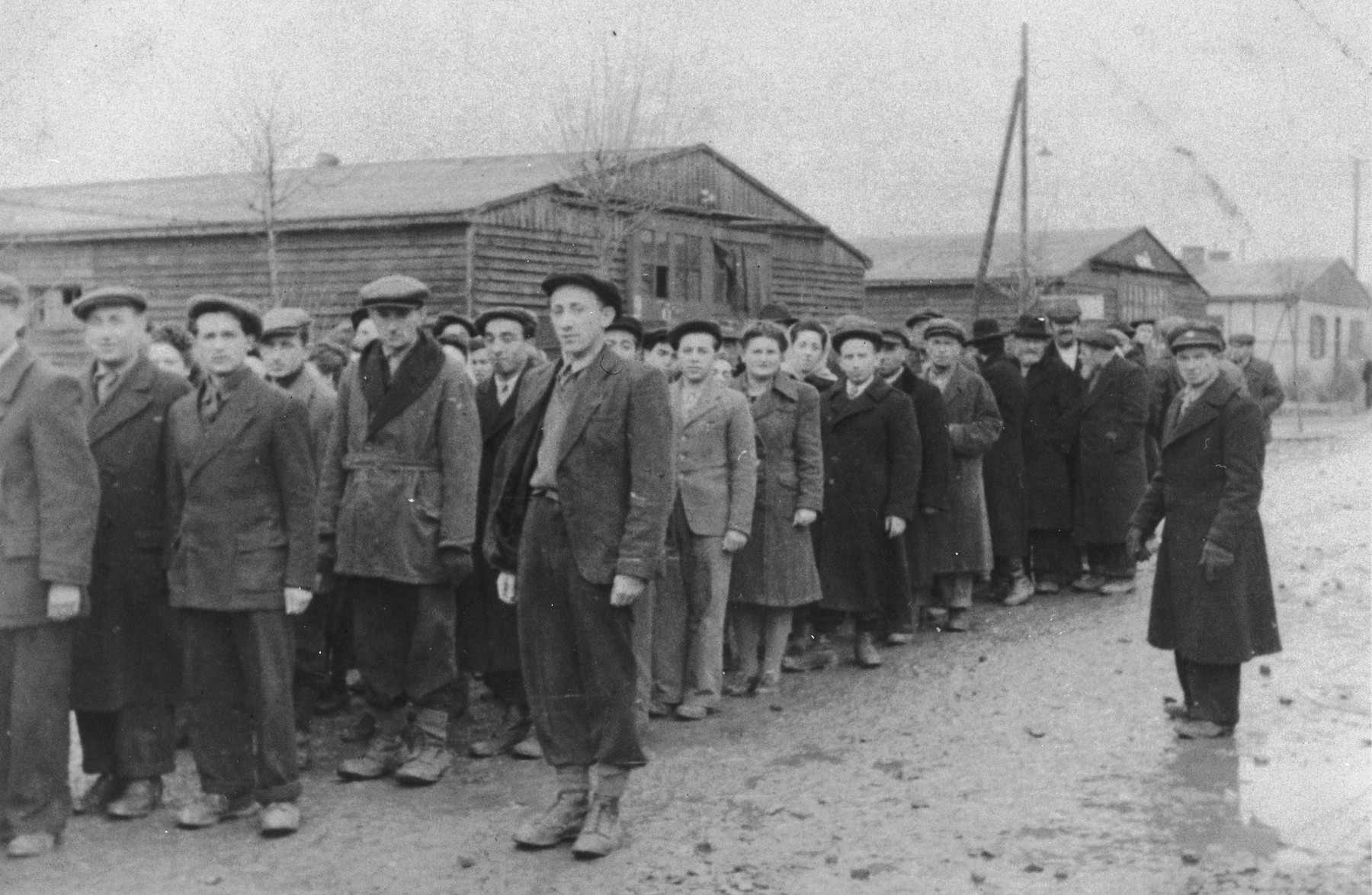 Jewish DPs line up in preparation for an anti-British demonstration at the Ziegenhain displaced persons camp.