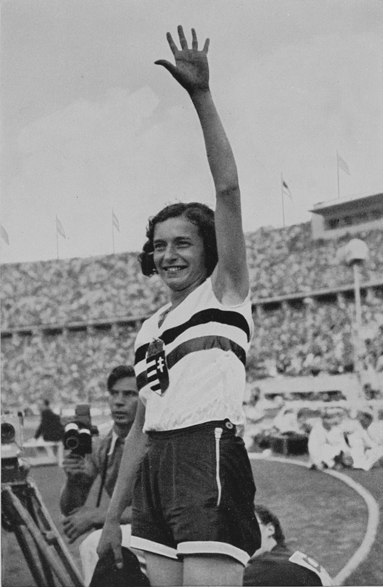 Hungarian high jumper Ibolya Csak at the 11th Summer Olympic Games. Csak won the gold medal in the event.