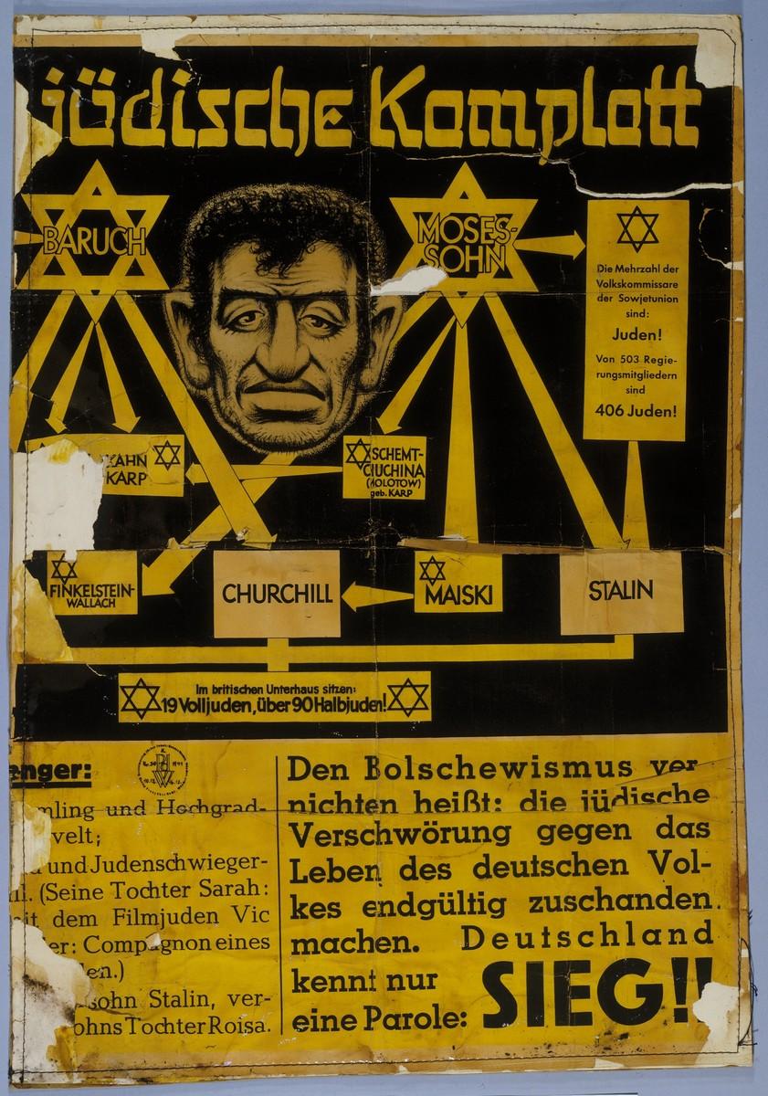 "Nazi anti-Jewish propaganda poster entitled ""Das Juedische Komplott"" (The Jewish Conspiracy)."