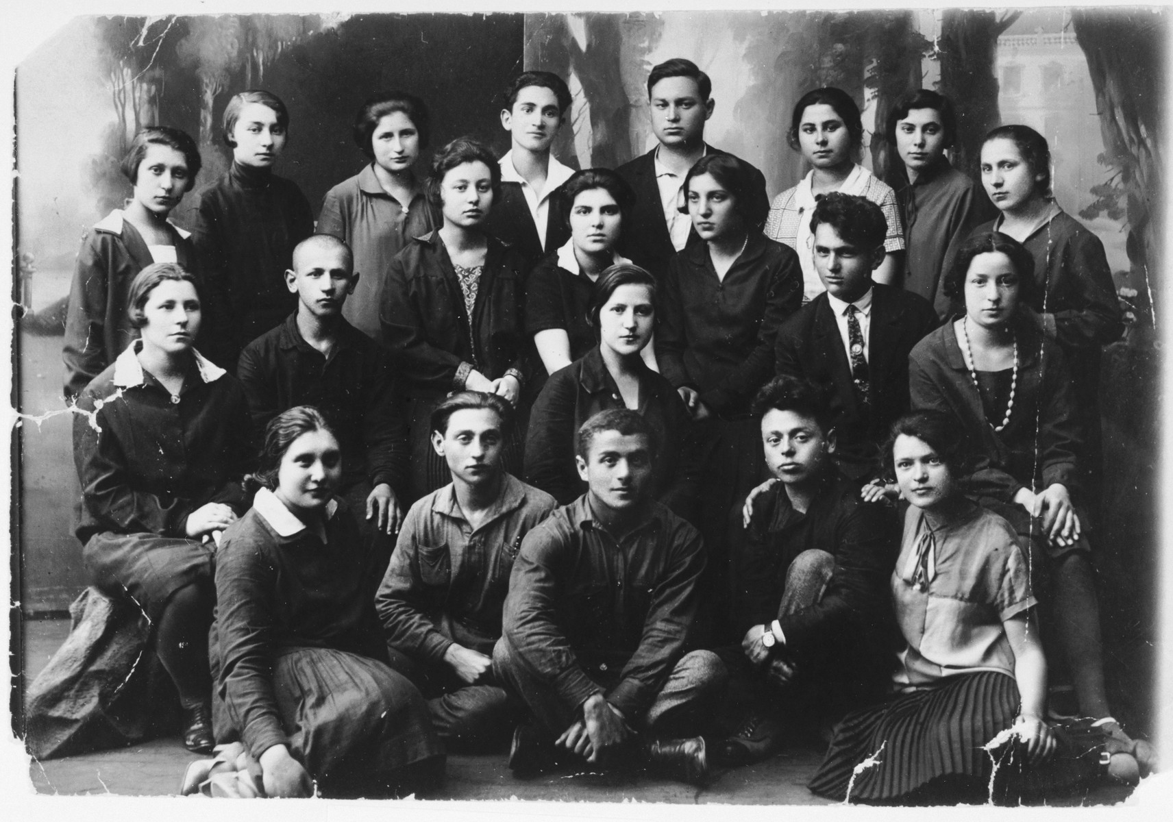 """Group portrait of young Bundists in Vilna.  The original caption reads, """"taken before Leike Zafron went away.""""  Among those pictured is Etta (Miransky) Michtom (second row from the top, third from the right)."""