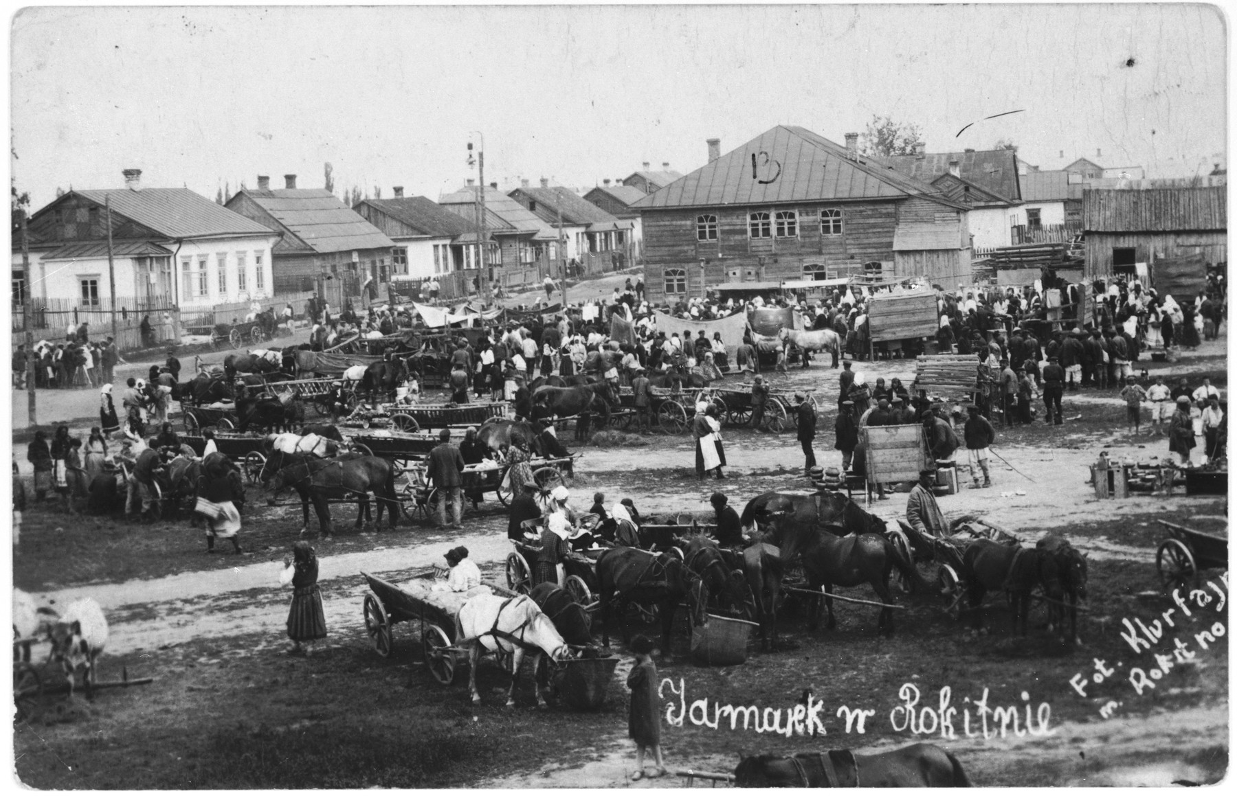 View of the Rokitno market place.  The synagoge is visible in the background.