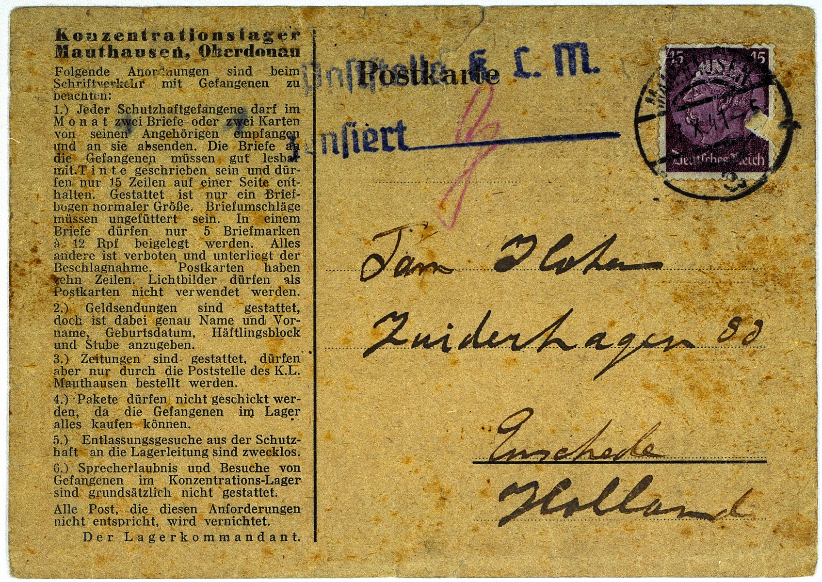 Back of a postcard sent by Iwan Cohen to his family in Enschede after his arrival in the Mauthausen concentration camp.