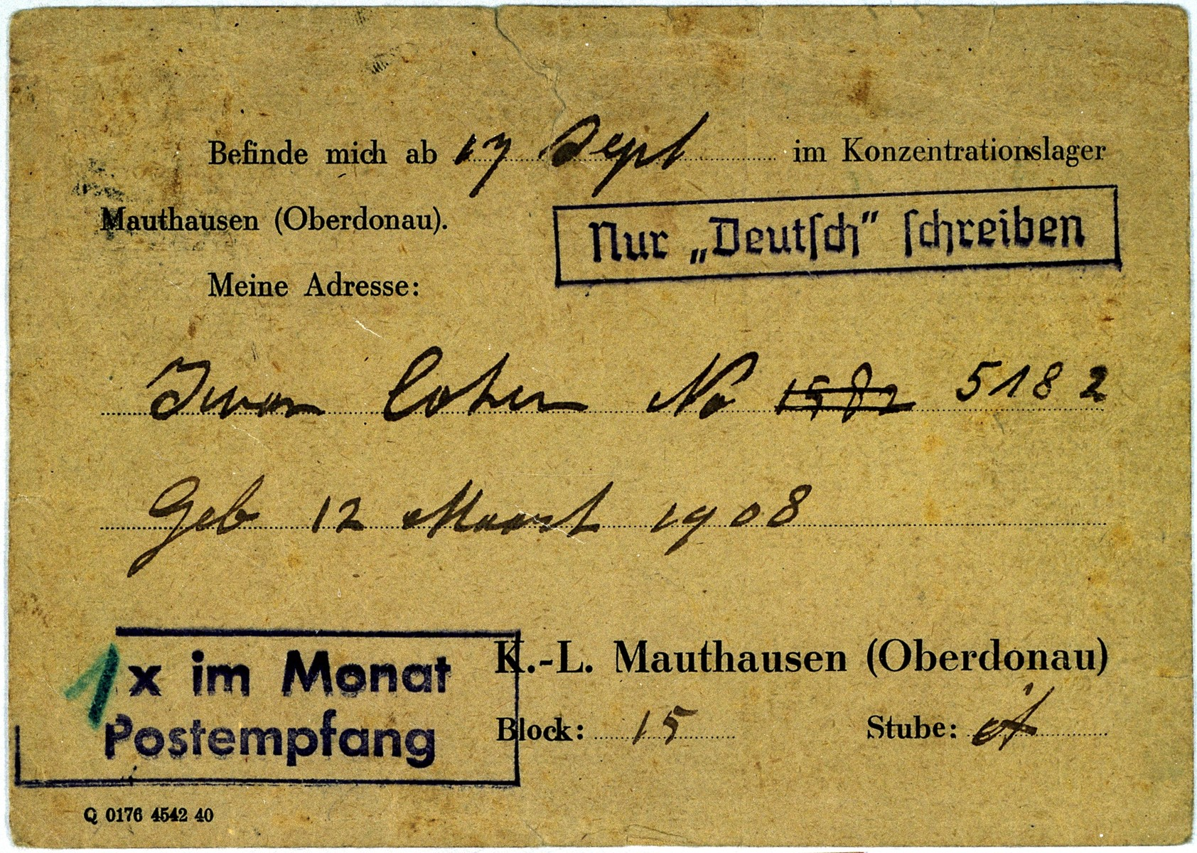 Postcard sent by Iwan Cohen to his family in Enschede after his arrival in the Mauthausen concentration camp.