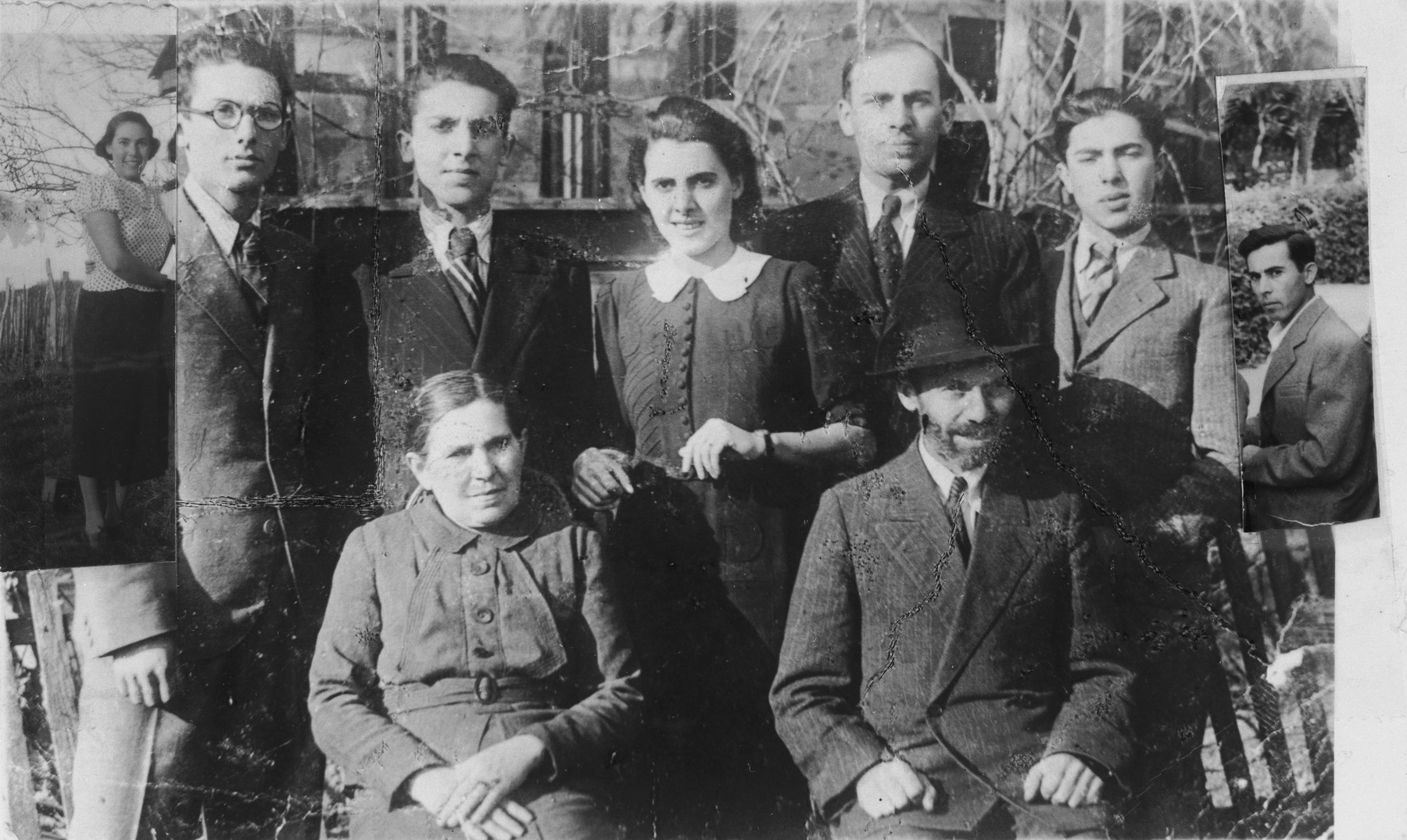 Portrait of the Berkovitz family in Berehovo, Transcarpathia, to which photos of an absent brother and sister have been added as an overlay.   Pictured in the front row are Wilhelm and Rose (Steiner) Berkovitz.  Behind them are their seven children (from left to right): Margit, Miklos, Laszlo, Olga, Erno, Ferenc, and Imre.