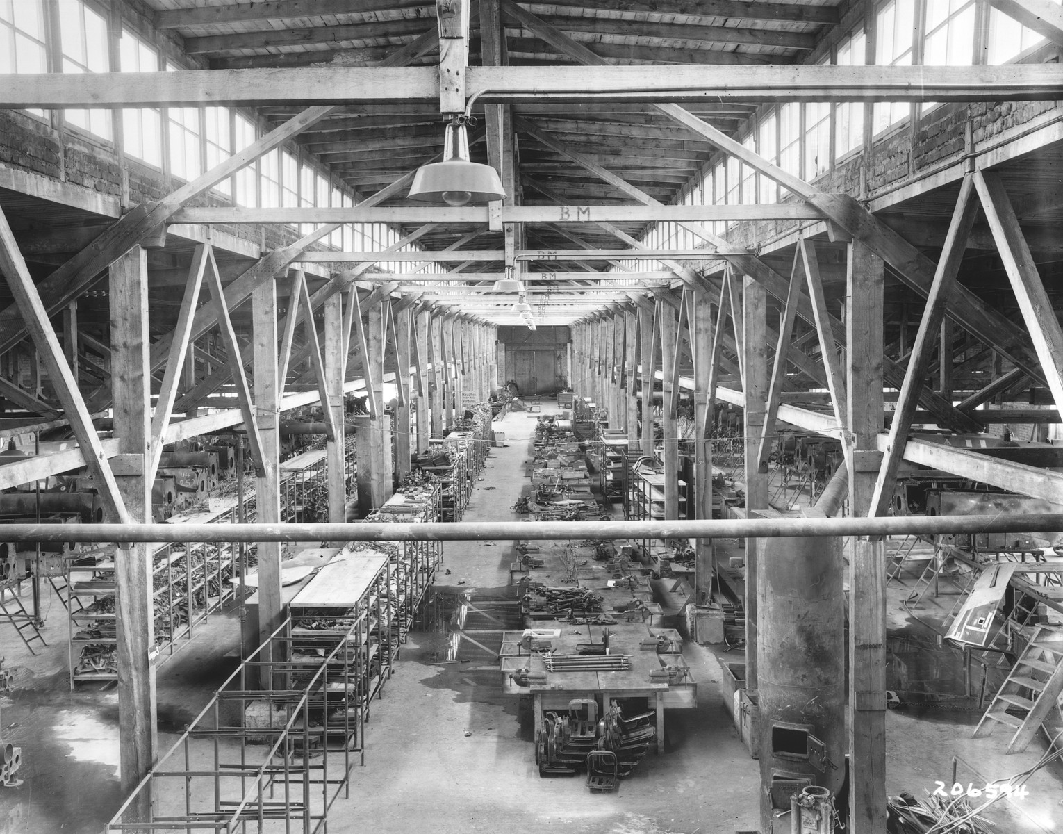 Interior view of an abandoned airplane factory near Flossenbuerg, where inmates of the nearby concentration camp were forced to work.