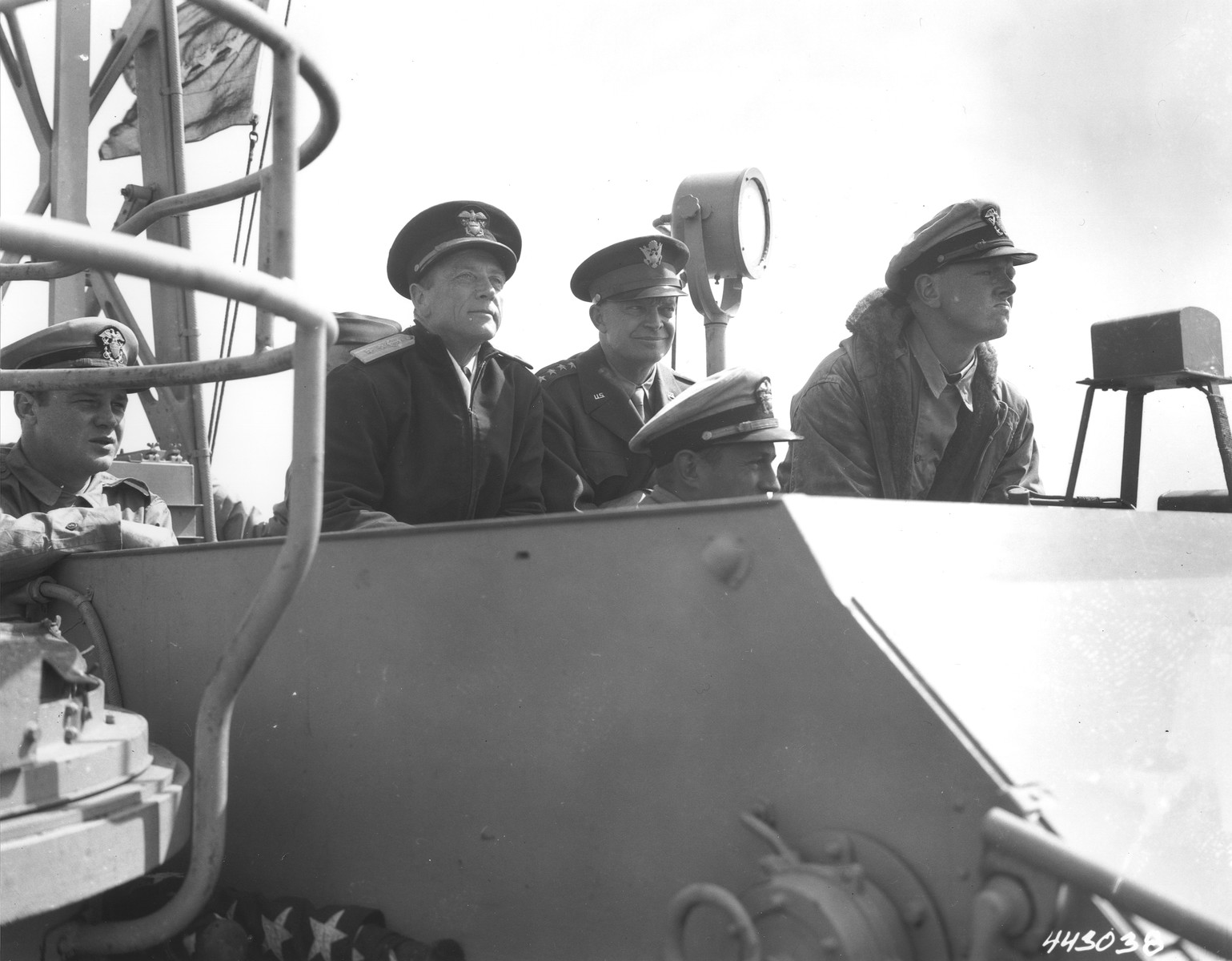 General Dwight D. Eisenhower on the bridge of a PT boat.