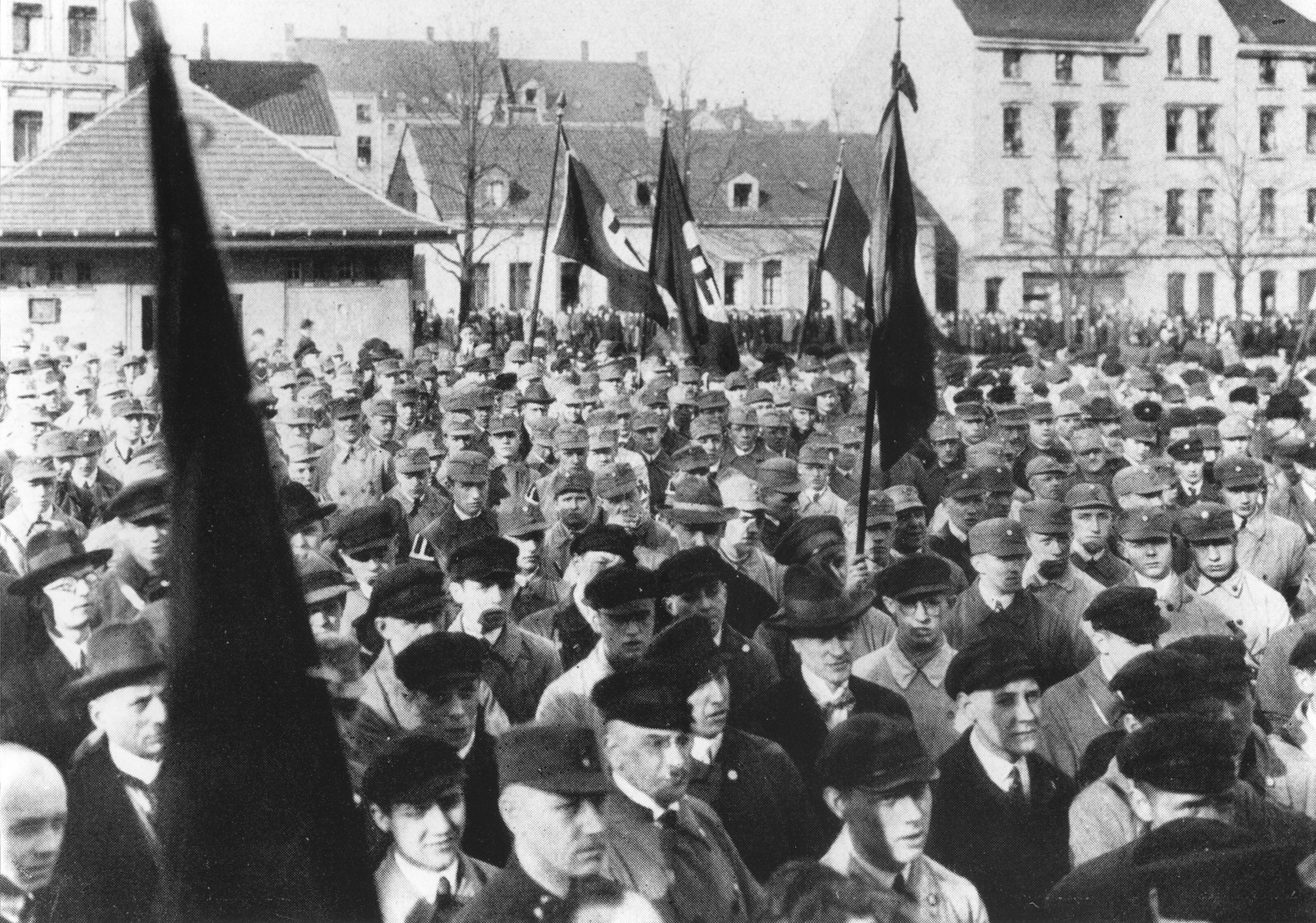 Members of the SA stand in formation during a Nazi rally in the Ruhr.