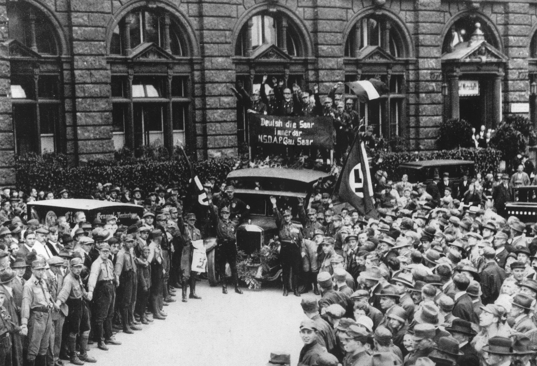 An SA detachment from the Saarland attends a Nazi Party rally in Nuremberg.