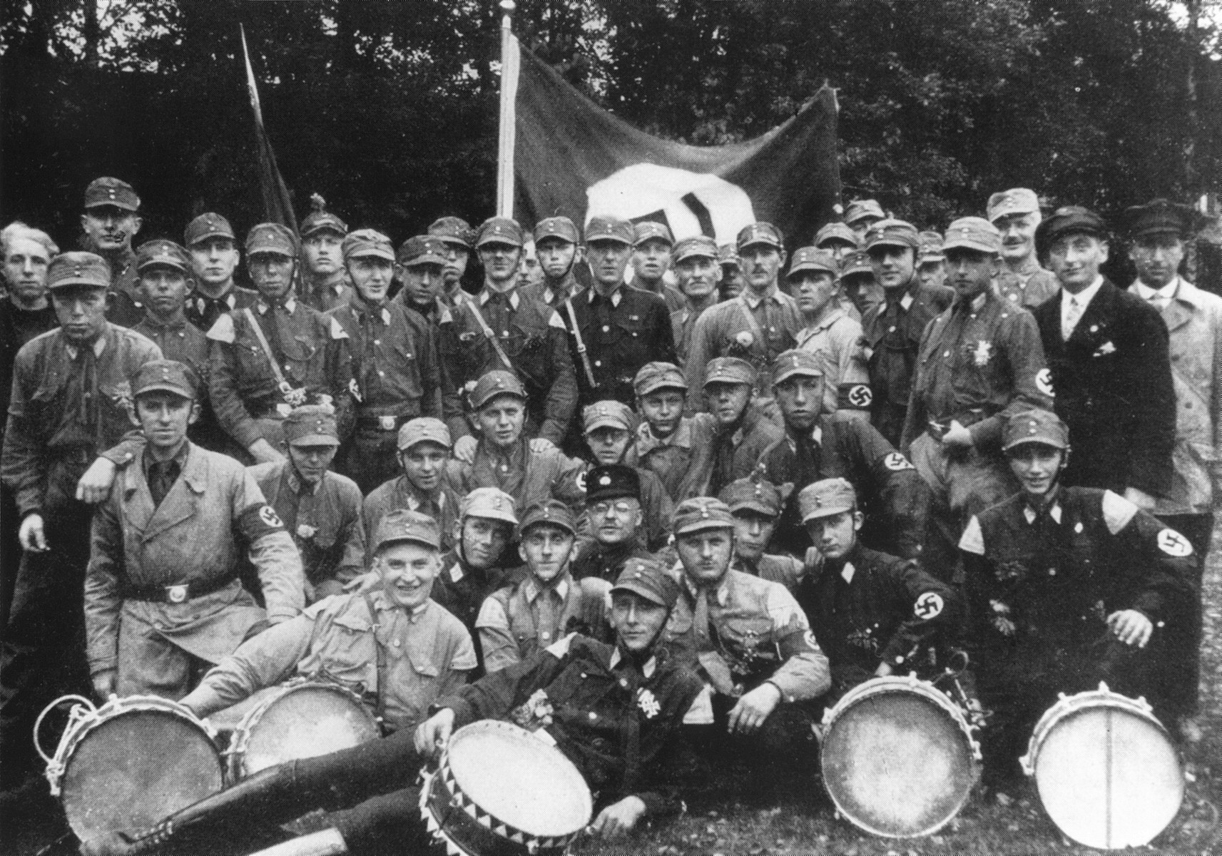 Group portrait of members of a Pomeranian SA unit at a rally in Jarmen.