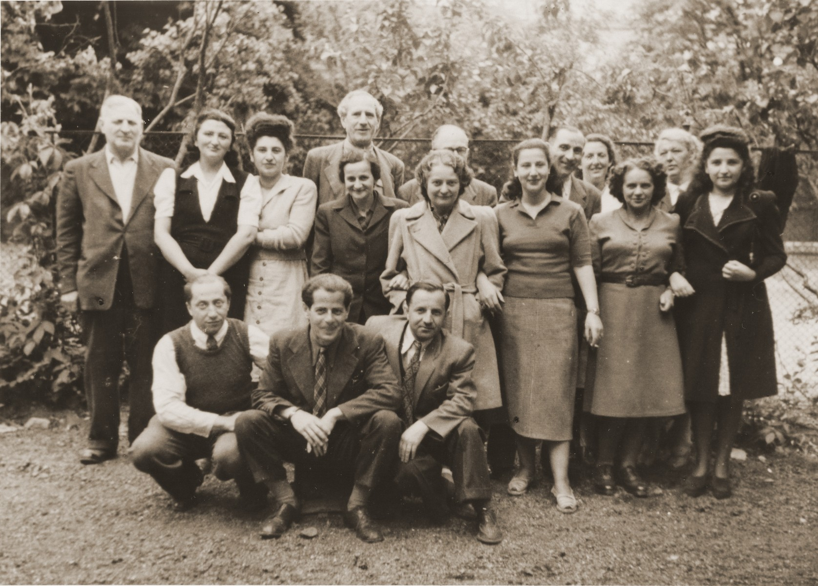 Members of the staff of the Rothschild Hospital pose on the hospital's grounds.  Those pictured include Kravetz, head of internal security, Abel Birman, Moshe Goldfinger, Margot Feuer and Duli Katz.