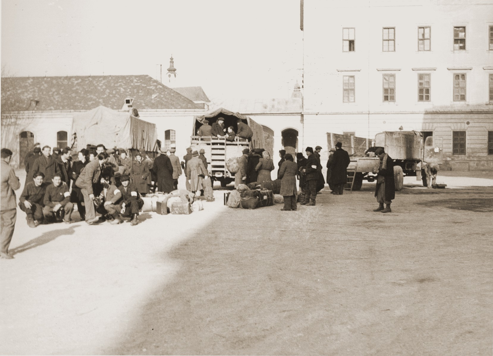 A group of Jewish DPs leaves Enns on the Bricha route.