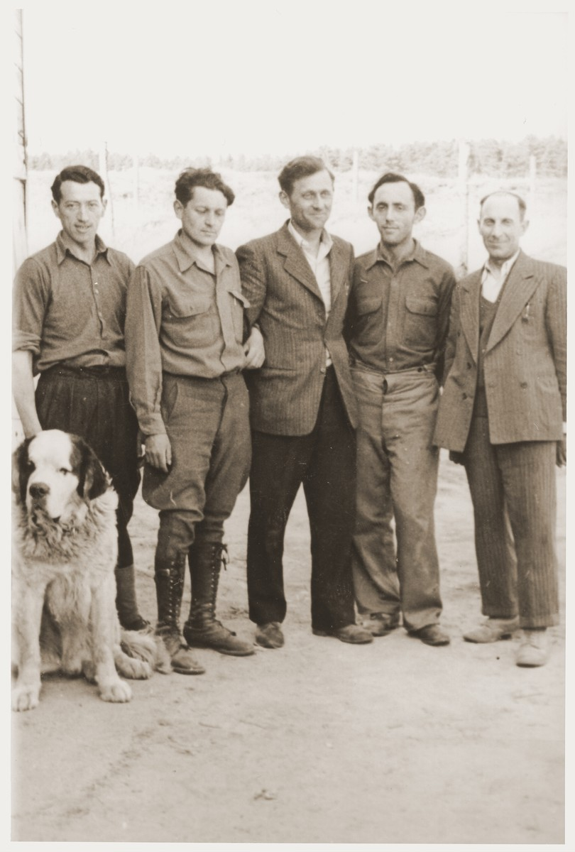 Group portrait of five men who are members of the Kibbutz Nili hachshara (Zionist collective) in Pleikershof, Germany  Pictured at the right is Shraga Applebaum and the second person on the left is Chaim Shapiro.  Posing with them is Rasso (or possibly Nero), one of the kibbutz watch dogs formerly owned by Julius Streicher.
